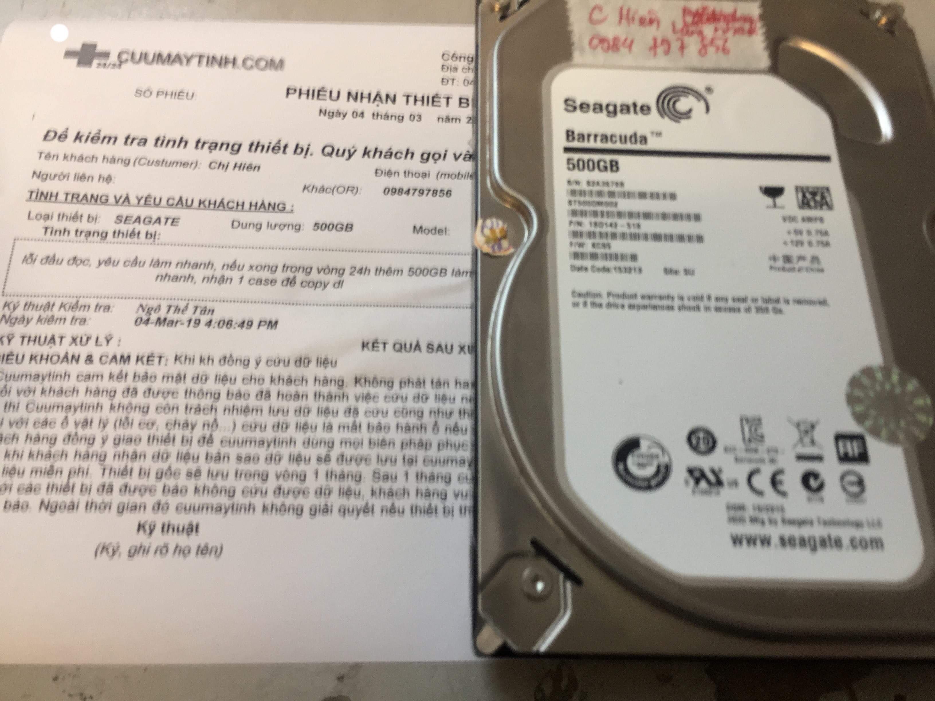 Phục hồi dữ liệu ổ cứng Seagate 500GB lỗi đầu đọc 04/03/2019 - cuumaytinh