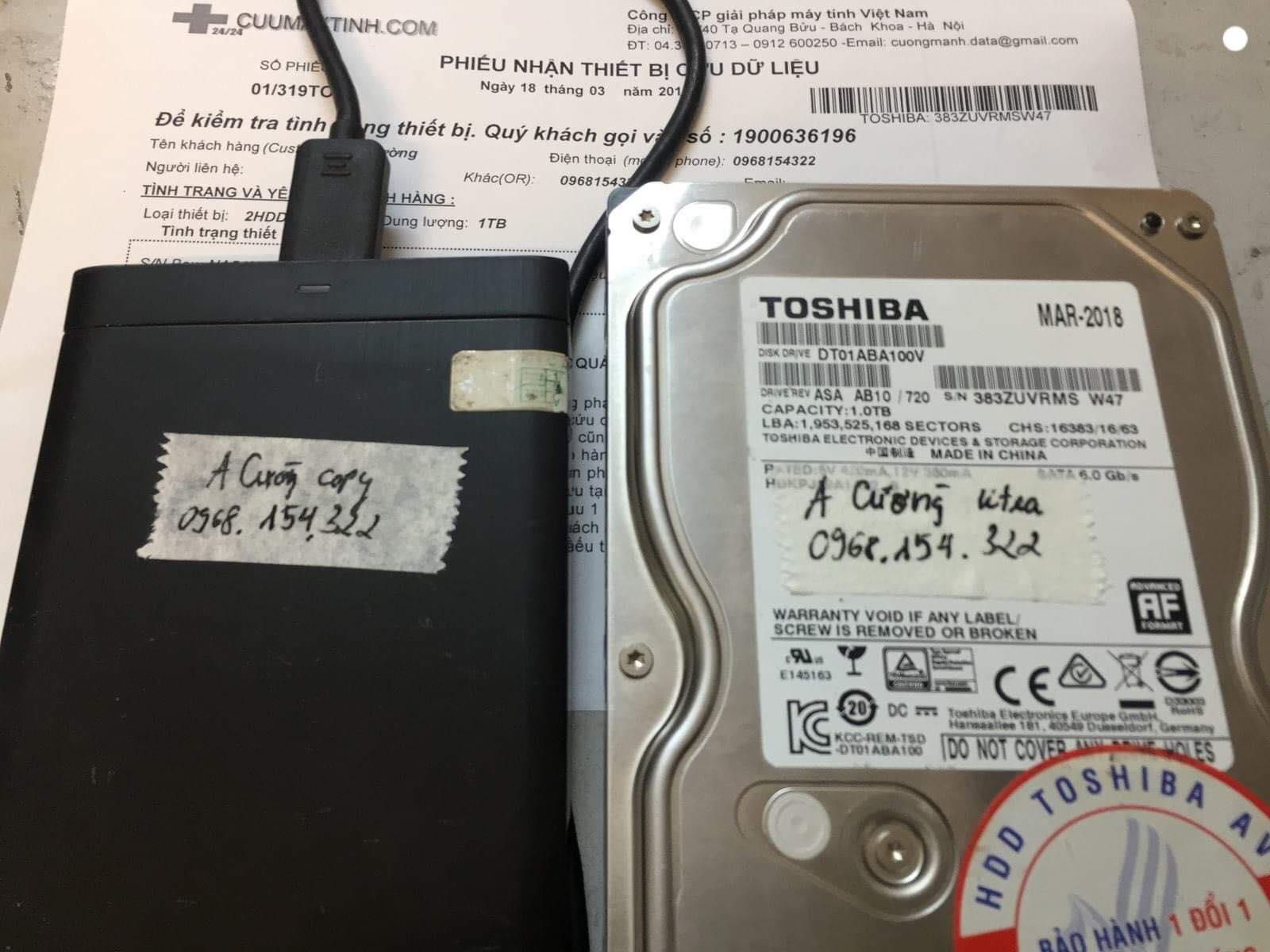 Phục hồi dữ liệu ổ cứng Toshiba 1TB format nhầm 18/03/2019 - cuumaytinh