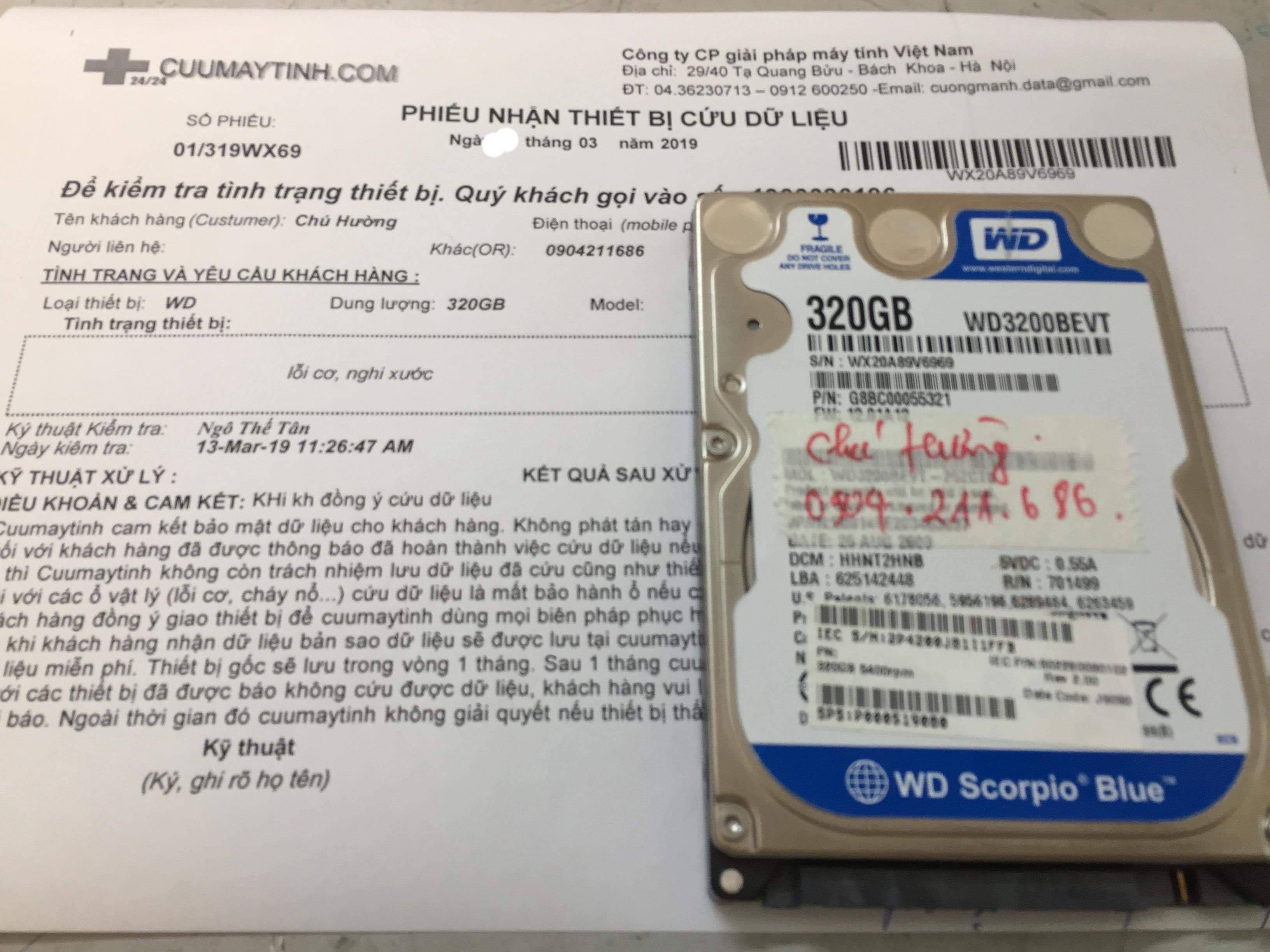 Phục hồi dữ liệu ổ cứng Western 320GB lỗi cơ 16/03/2019 - cuumaytinh
