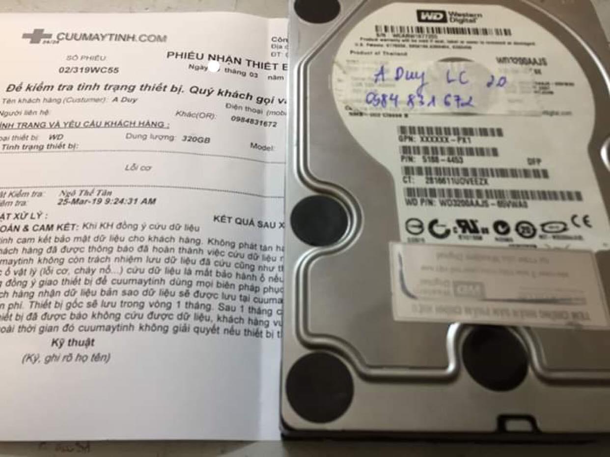 Phục hồi dữ liệu ổ cứng Western 80GB lỗi cơ  26/03/2019 - cuumaytinh
