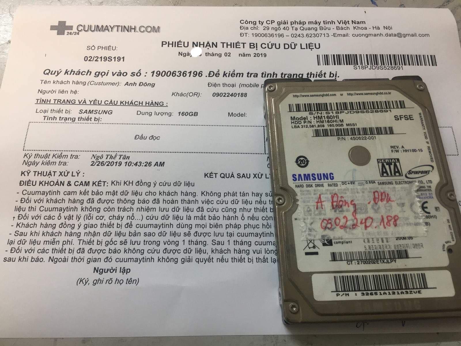 Cứu dữ liệu ổ cứng Samsung 160GB không nhận 28/02/2019 - cuumaytinh