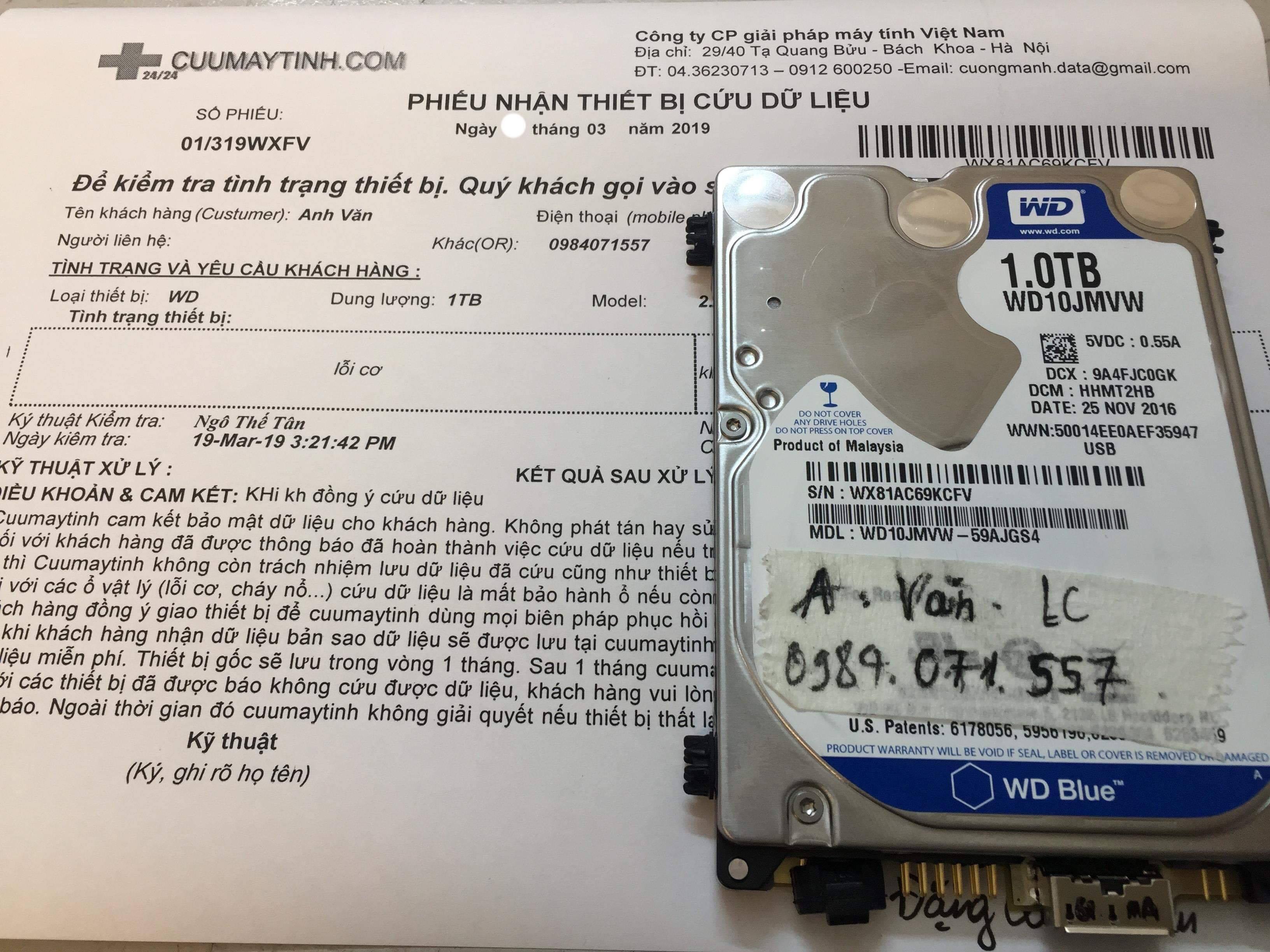 Cứu dữ liệu ổ cứng Western 1TB lỗi cơ 20/03/2019 - cuumaytinh