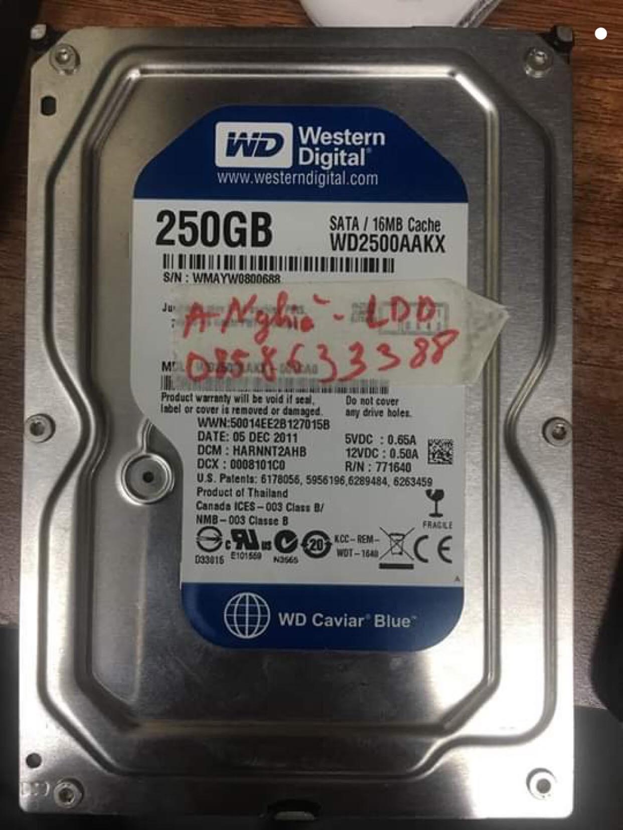 Cứu dữ liệu ổ cứng Western 250GB lỗi đầu đọc 13/03/2019 - cuumaytinh