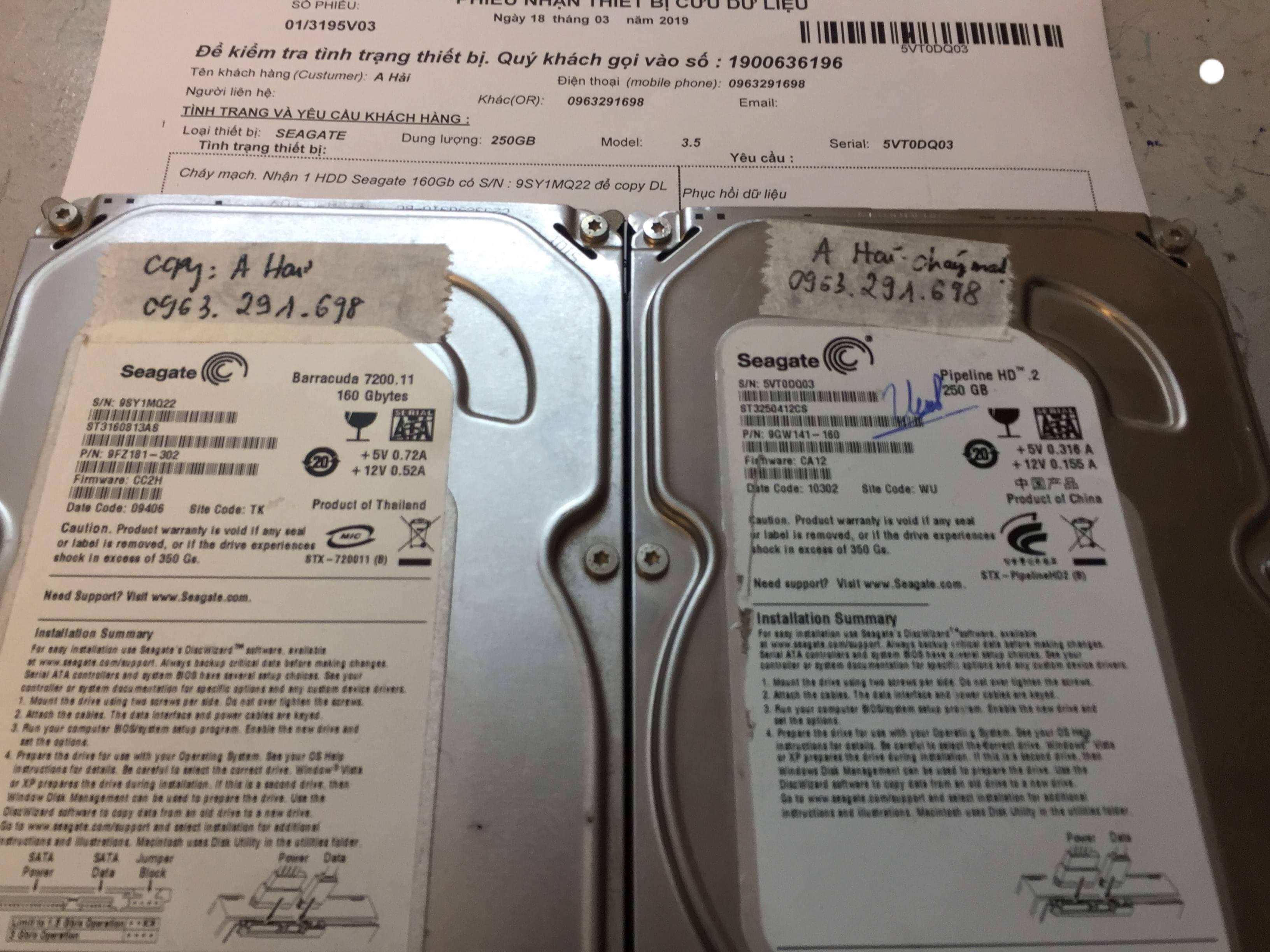 Cứu dữ liệu ổ cứng Seagate 250GB cháy mạch 18/03/2019 - cuumaytinh