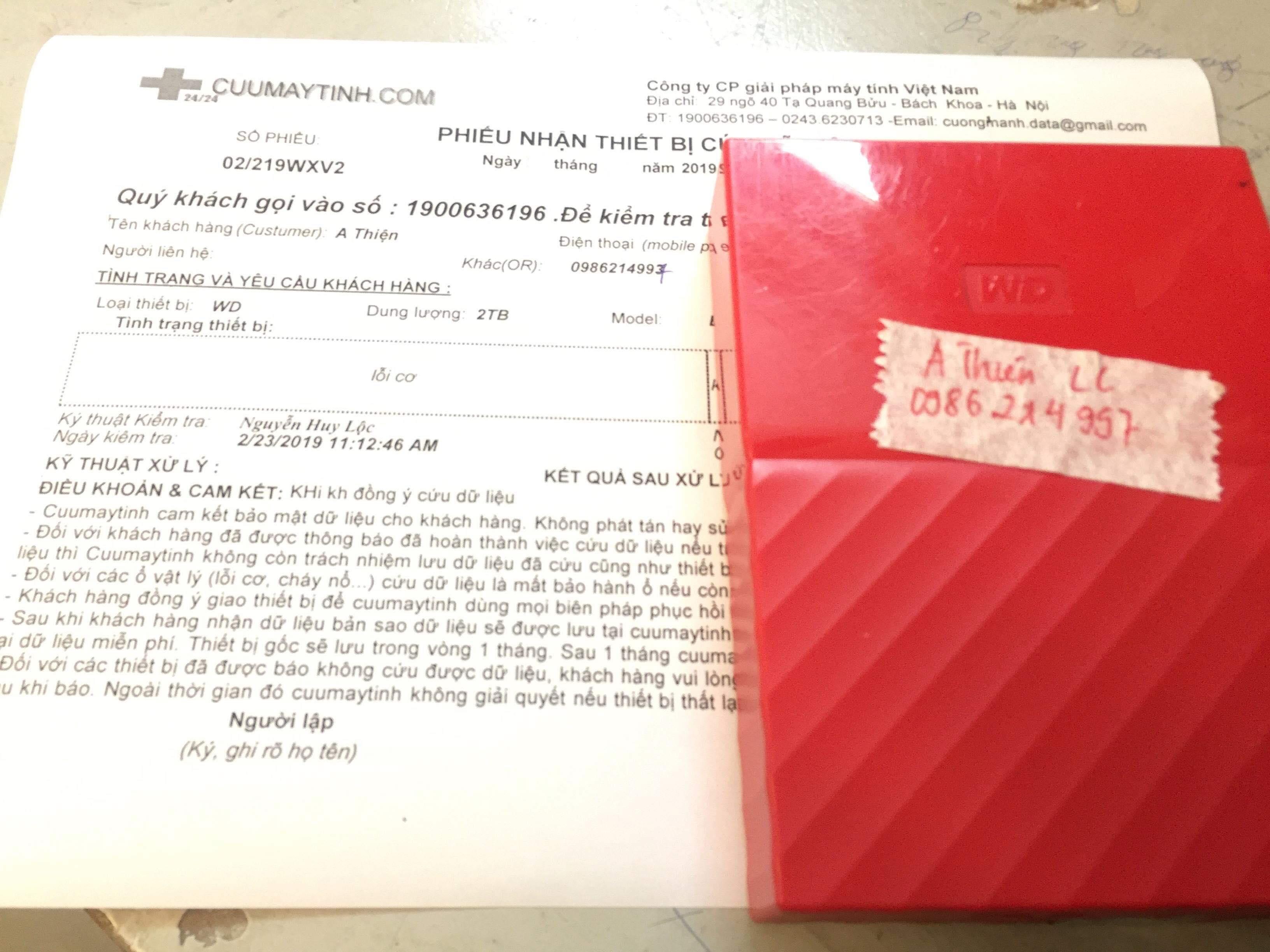 Khôi phục dữ liệu ổ cứng Western 2TB lỗi cơ 02/03/2019 - cuumaytinh