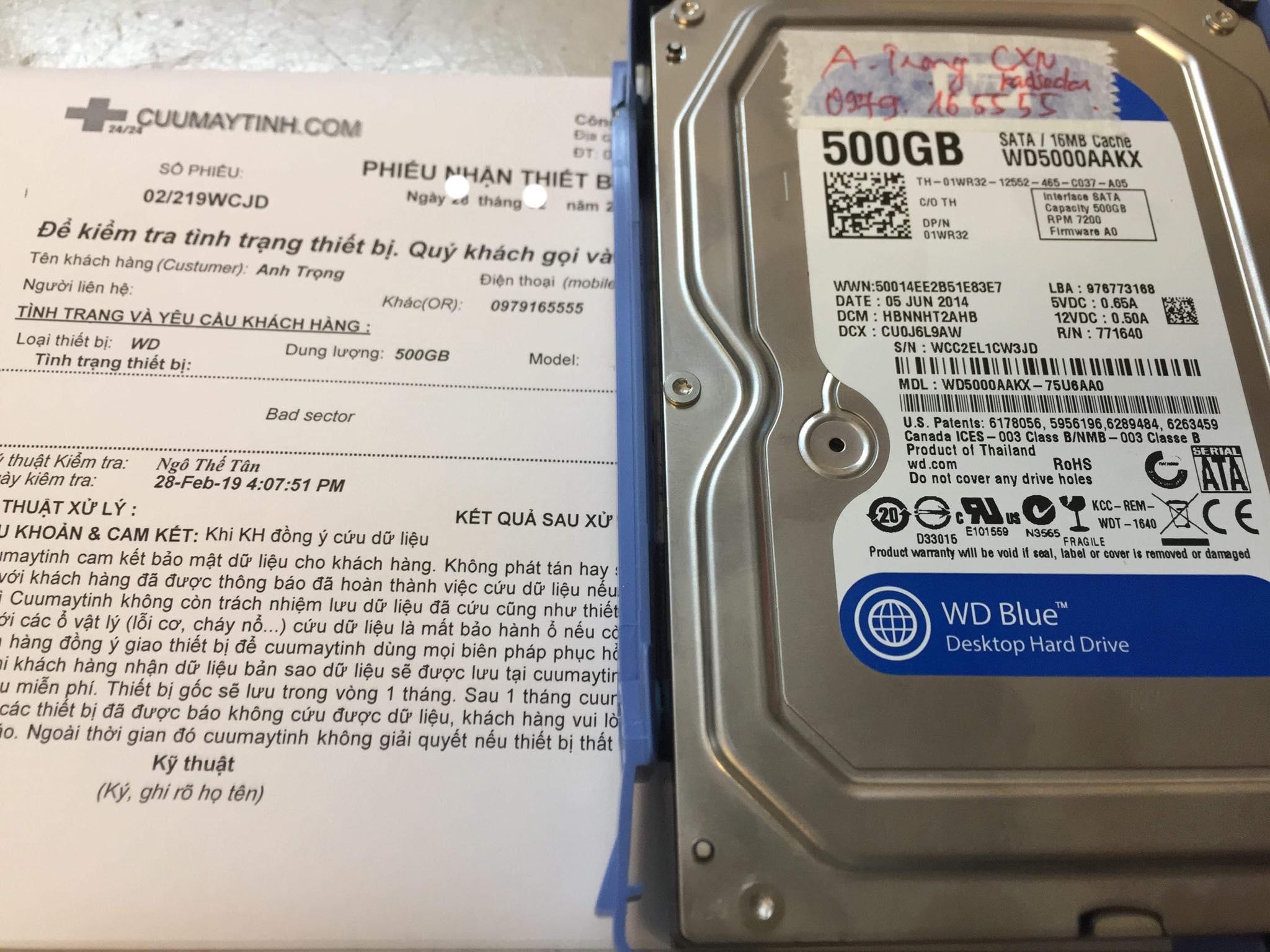 Lấy dữ liệu ổ cứng Western 500GB bad 09/03/2019 - cuumaytinh