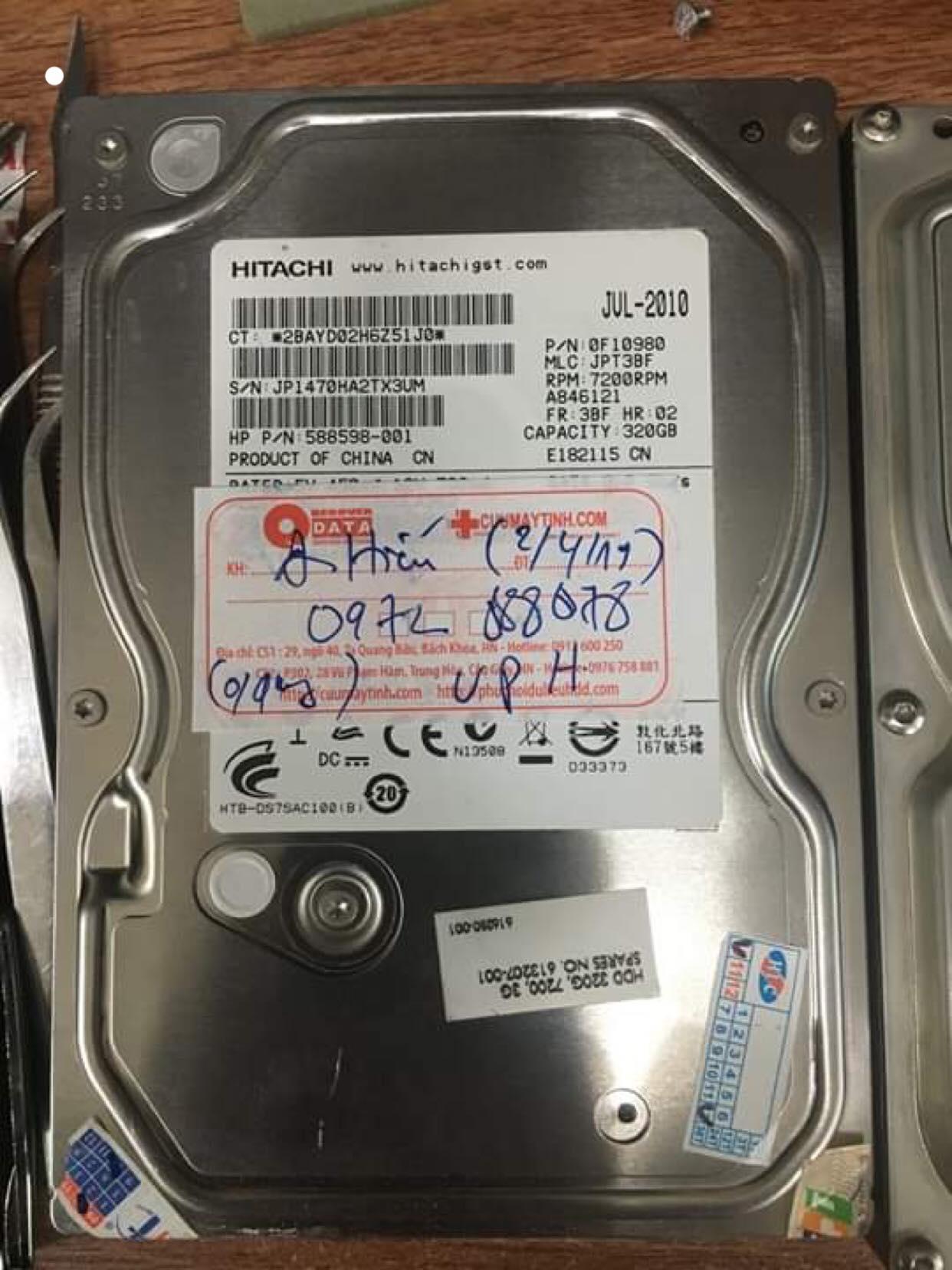 Cứu dữ liệu ổ cứng Hitachi 320GB không nhận 05/04/2019 - cuumaytinh