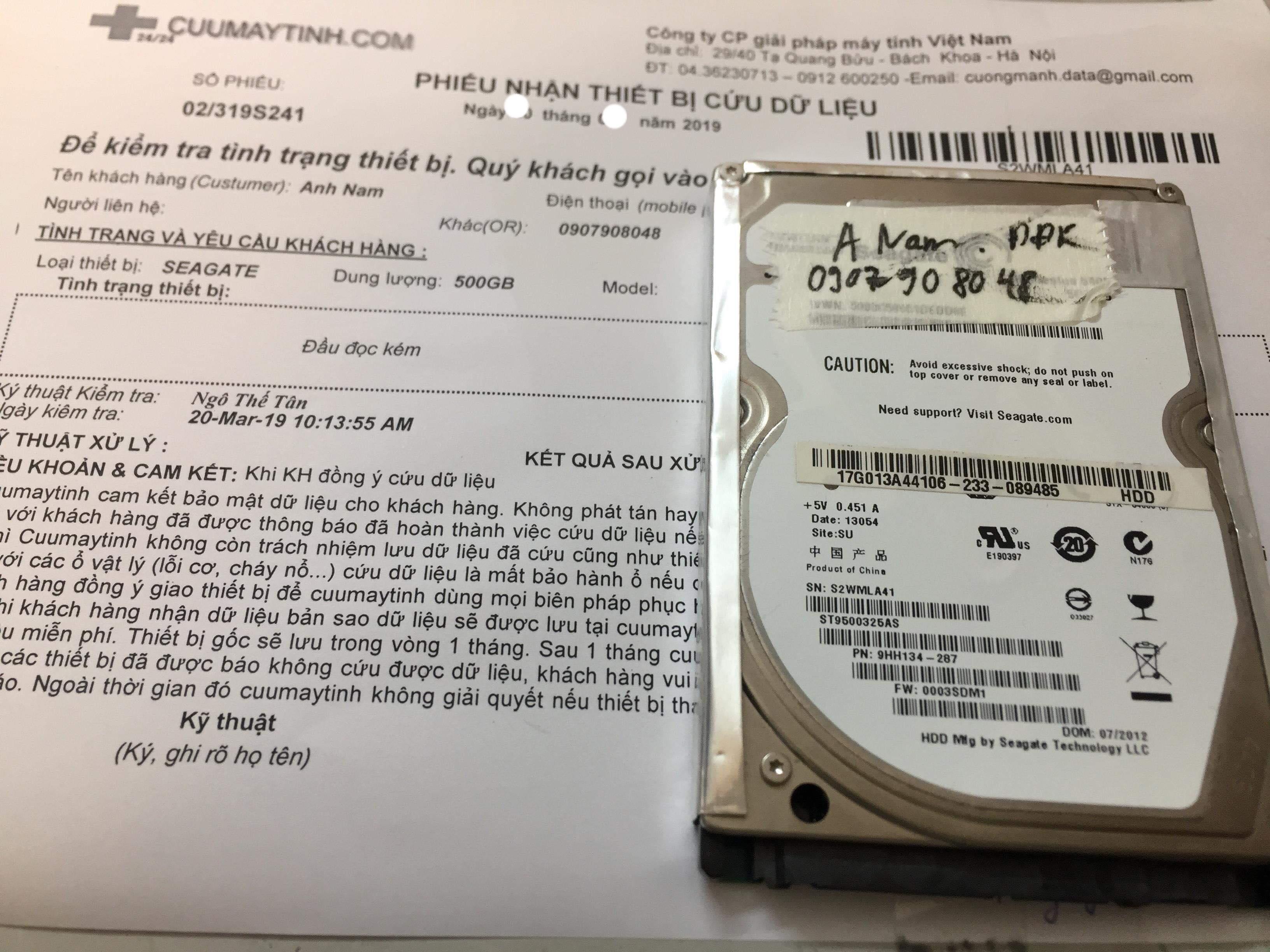 Cứu dữ liệu ổ cứng Seagate 500GB đầu đọc kém 01/04/2019 - cuumaytinh
