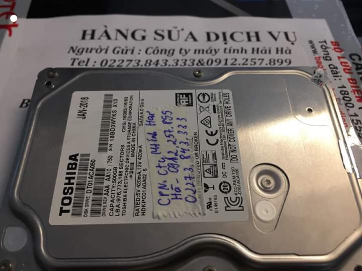 Cứu dữ liệu ổ cứng Toshiba 500GB không nhận tại Thái Bình 06/04/2019 - cuumaytinh