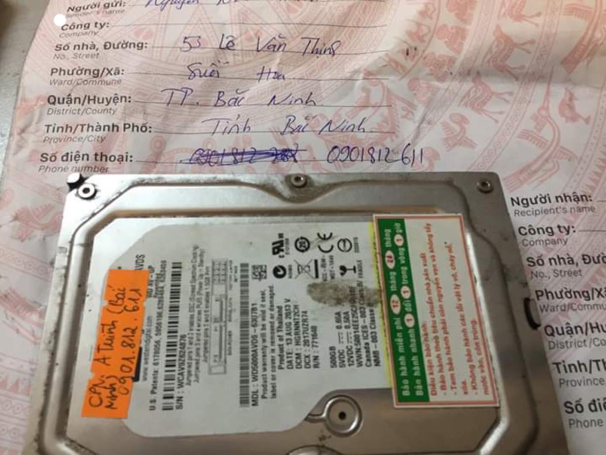 Cứu dữ liệu ổ cứng Western 500GB không nhận tại Bắc Ninh 17/04/2019 - cuumaytinh
