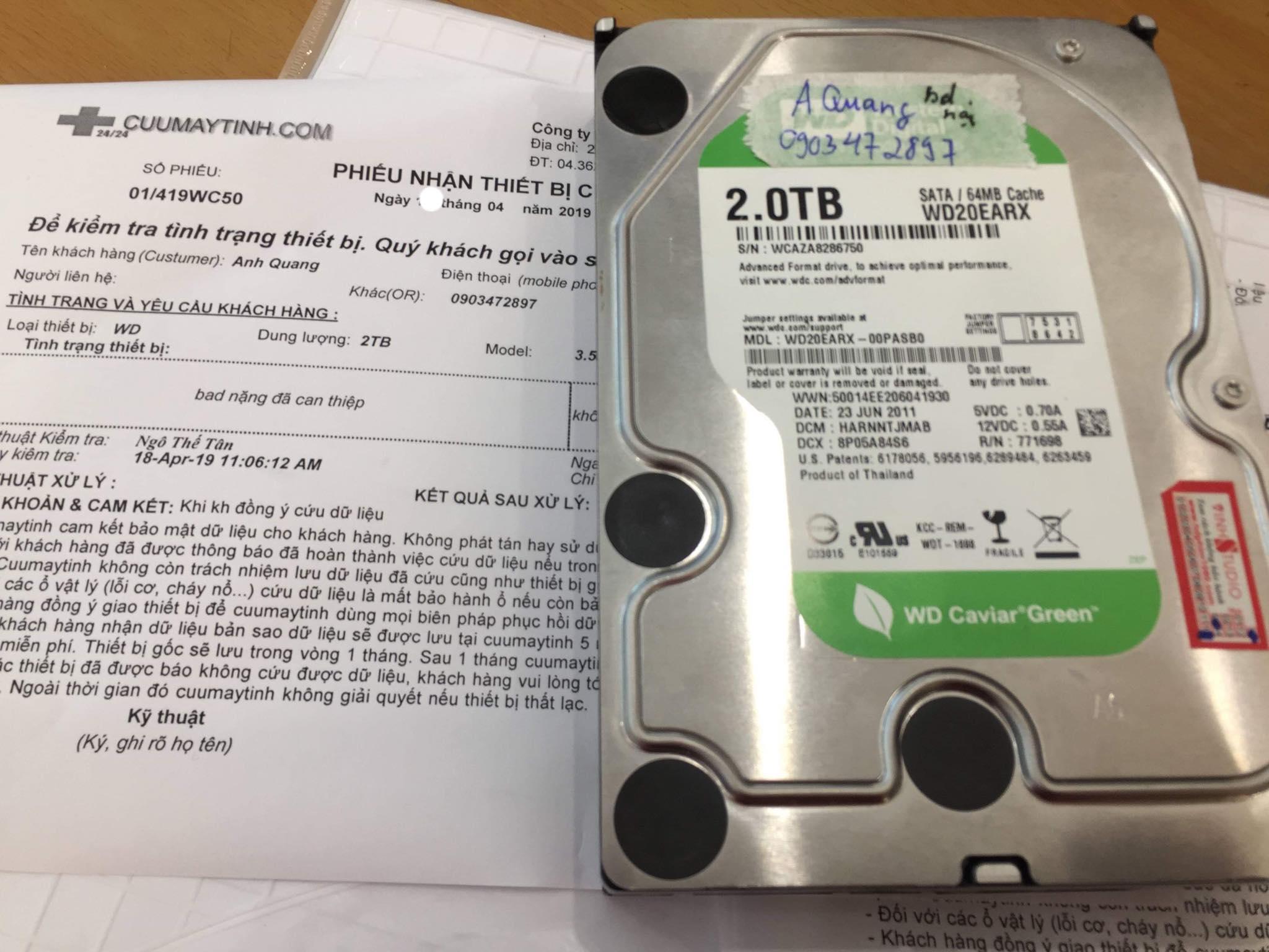 Cứu dữ liệu ổ cứng Western 2TB bad nặng 20/04/2019 - cuumaytinh