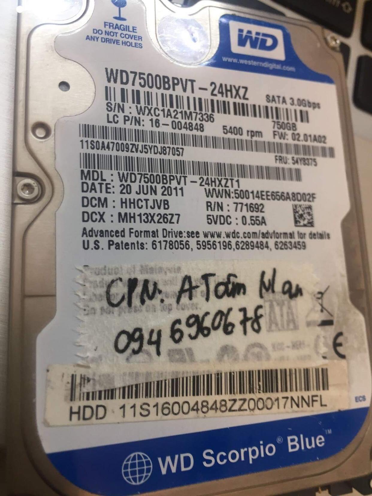 Cứu dữ liệu ổ cứng Western 750GB không nhận tại Nghệ An 10/04/2019 - cuumaytinh
