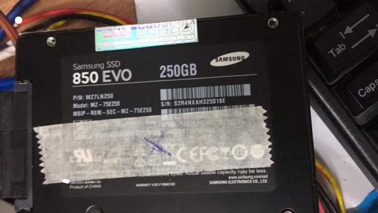 Khôi phục dữ liệu ổ cứng SSD Samsung 250GB mất dữ liệu 17/04/2019 - cuumaytinh