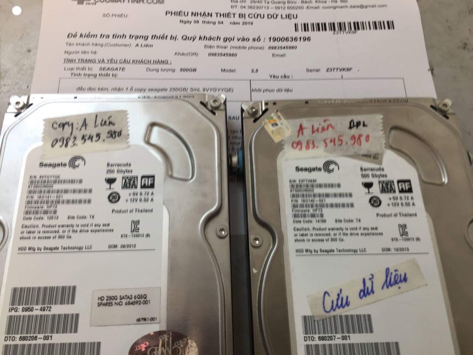 Khôi phục dữ liệu ổ cứng Seagate 500GB đầu đọc kém 08/04/2019 - cuumaytinh