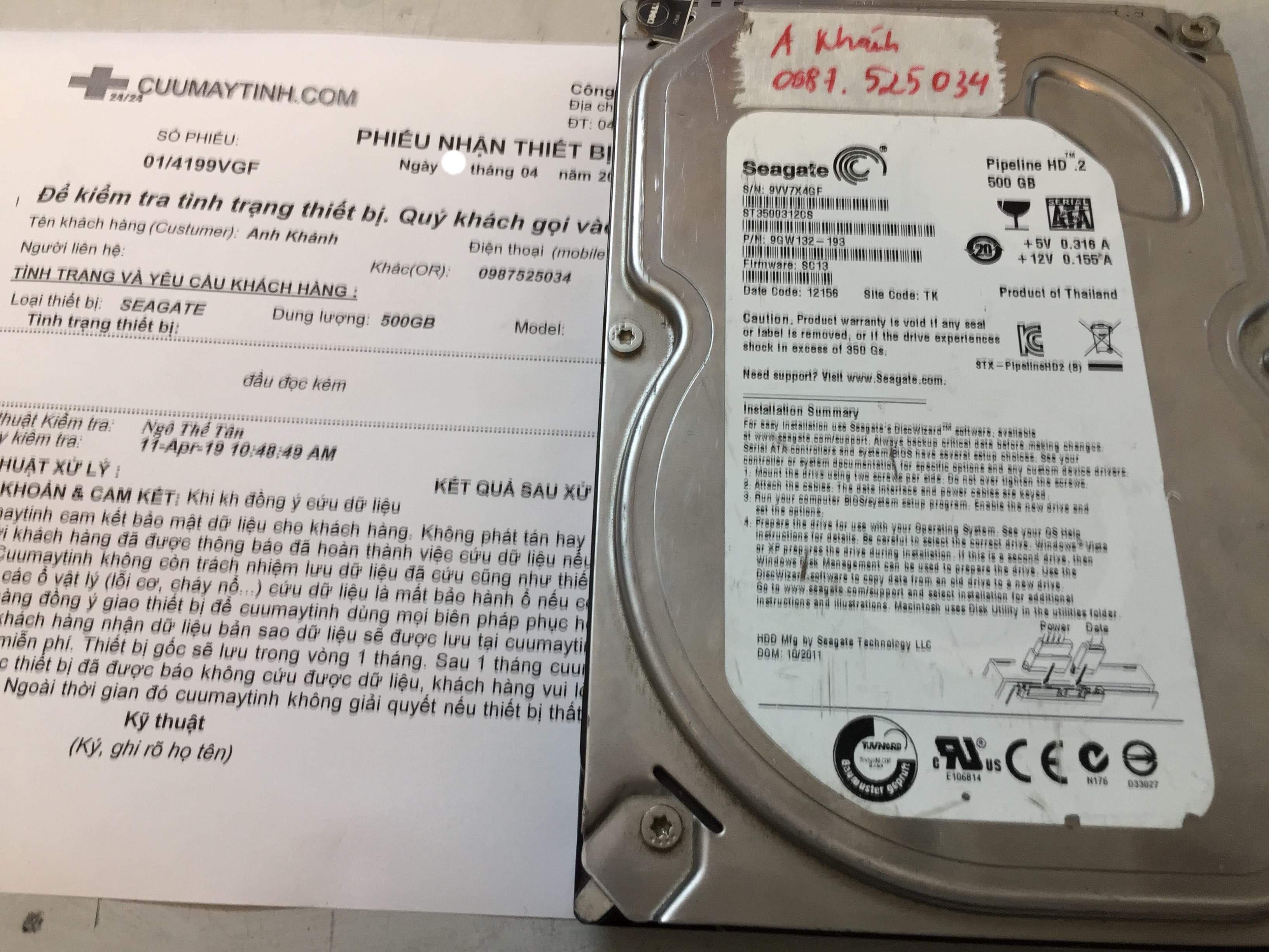 Khôi phục dữ liệu ổ cứng Seagate 500GB đầu đọc kém 22/04/2019 - cuumaytinh