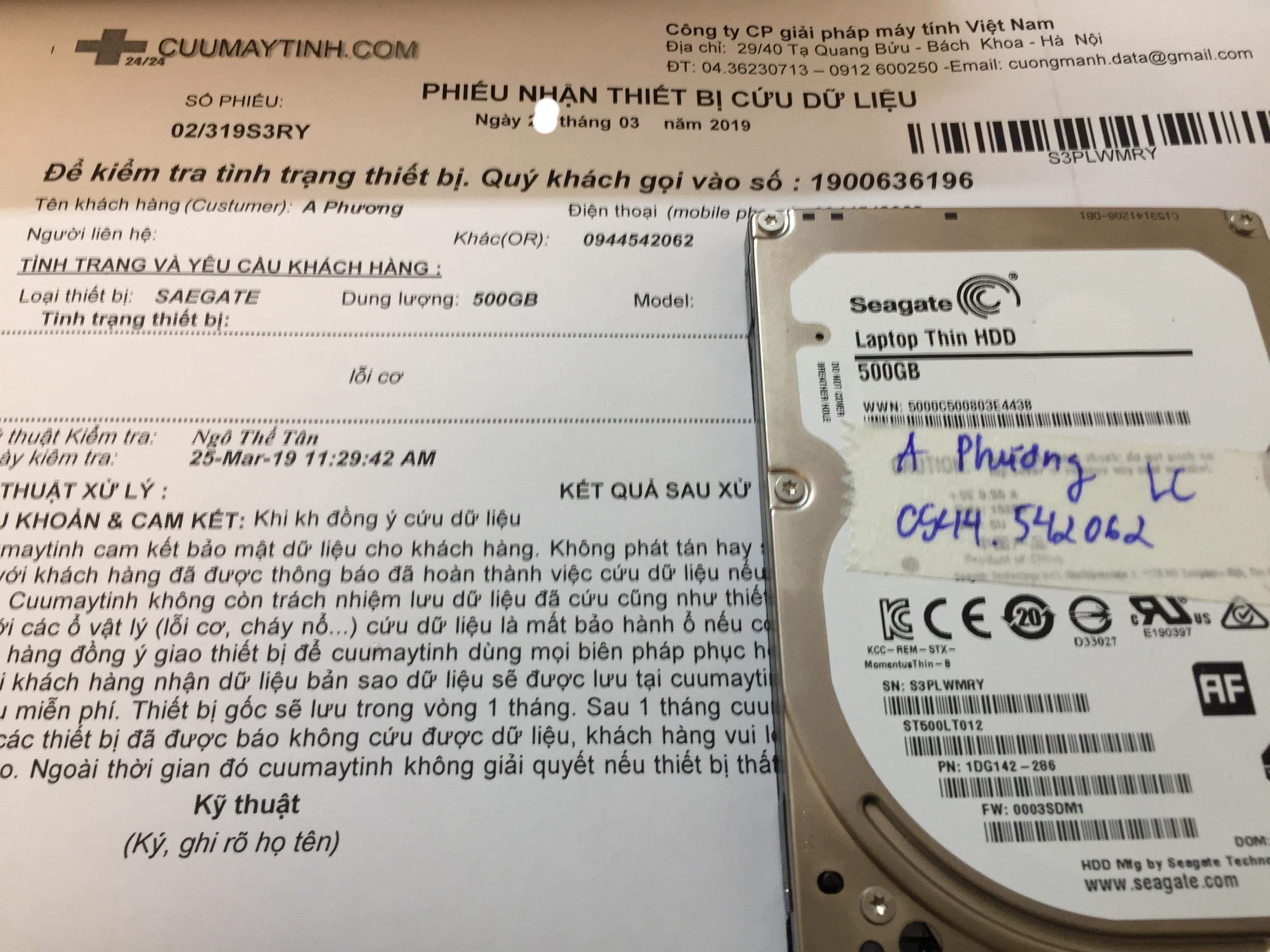 Khôi phục dữ liệu ổ cứng Seagate 500GB lỗi cơ 28/03/2019 - cuumaytinh