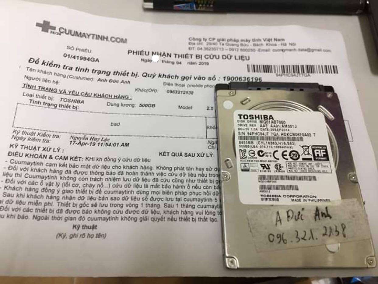 Khôi phục dữ liệu ổ cứng Toshiba 500GB bad 18/04/2019 - cuumaytinh