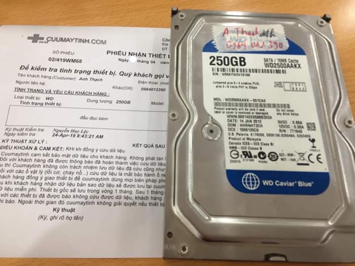 Khôi phục dữ liệu ổ cứng Western 250GB đầu đọc kém 23/04/2019 - cuumaytinh