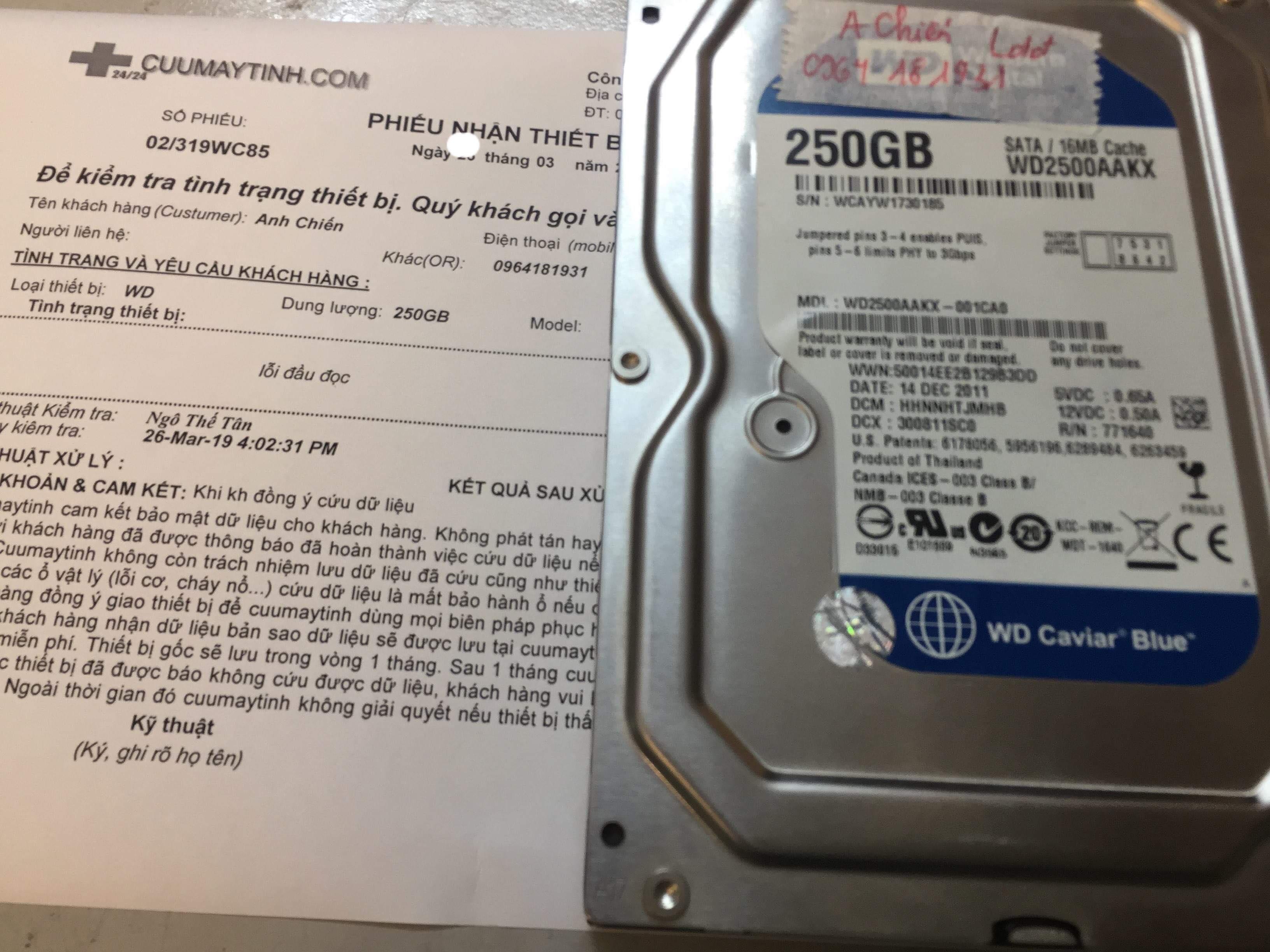 Khôi phục dữ liệu ổ cứng Western 250GB lỗi đầu đọc 30/03/2019 - cuumaytinh