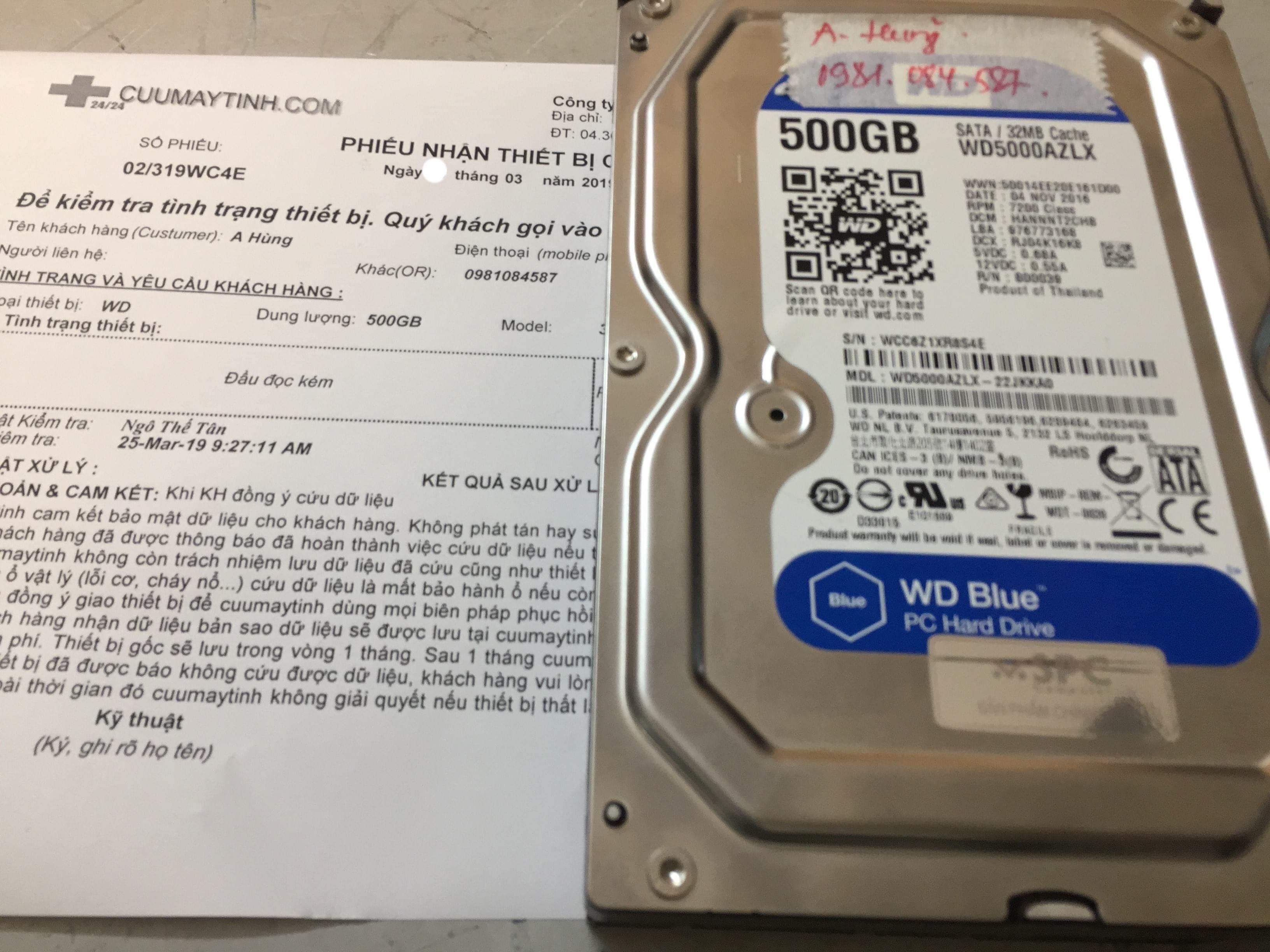 Khôi phục dữ liệu ổ cứng Western 500GB đầu đọc kém 29/03/2019 - cuumaytinh