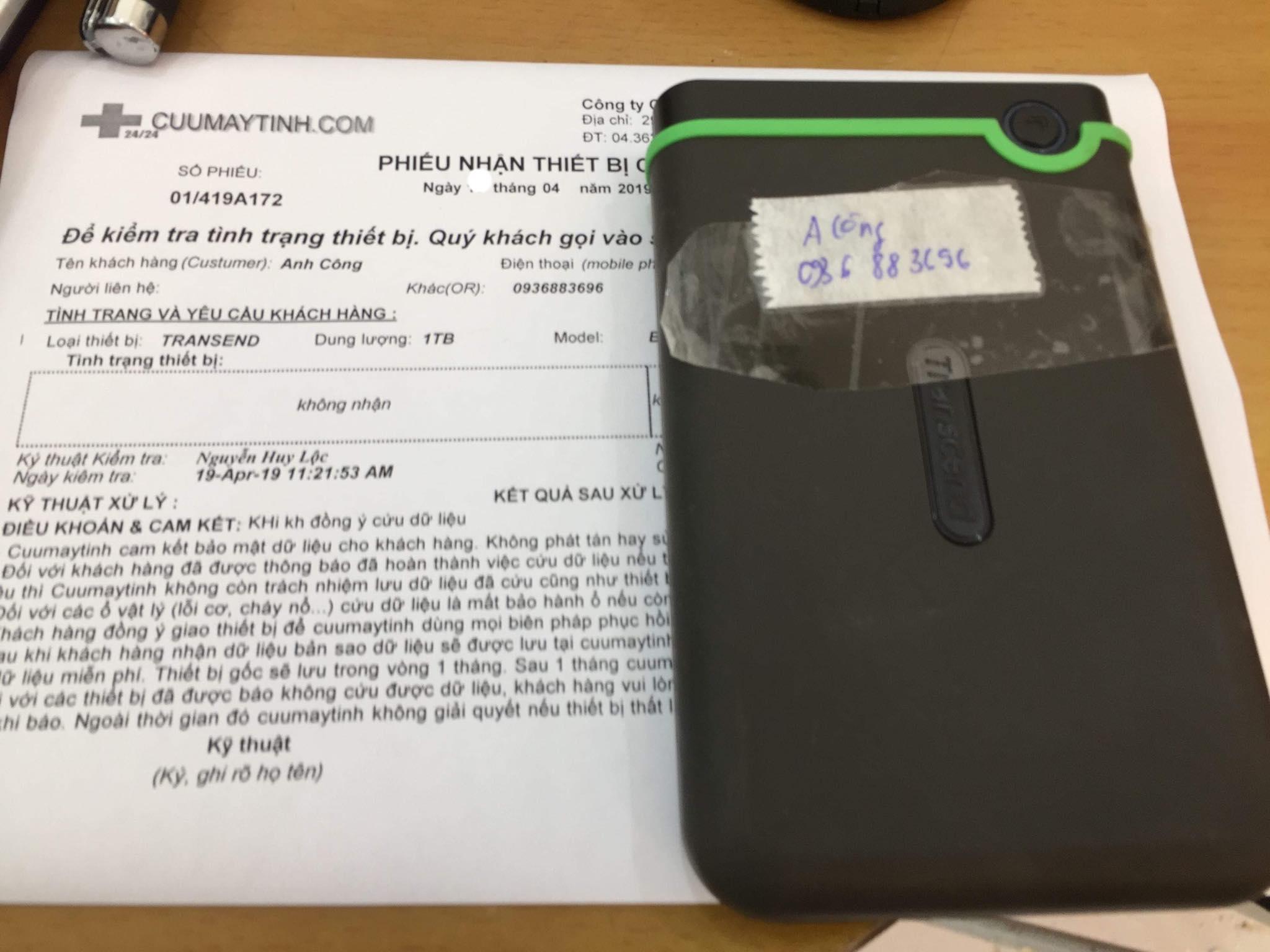 Lấy dữ liệu ổ cứng Box Transend 1TB không nhận 20/04/2019 -cuumaytinh