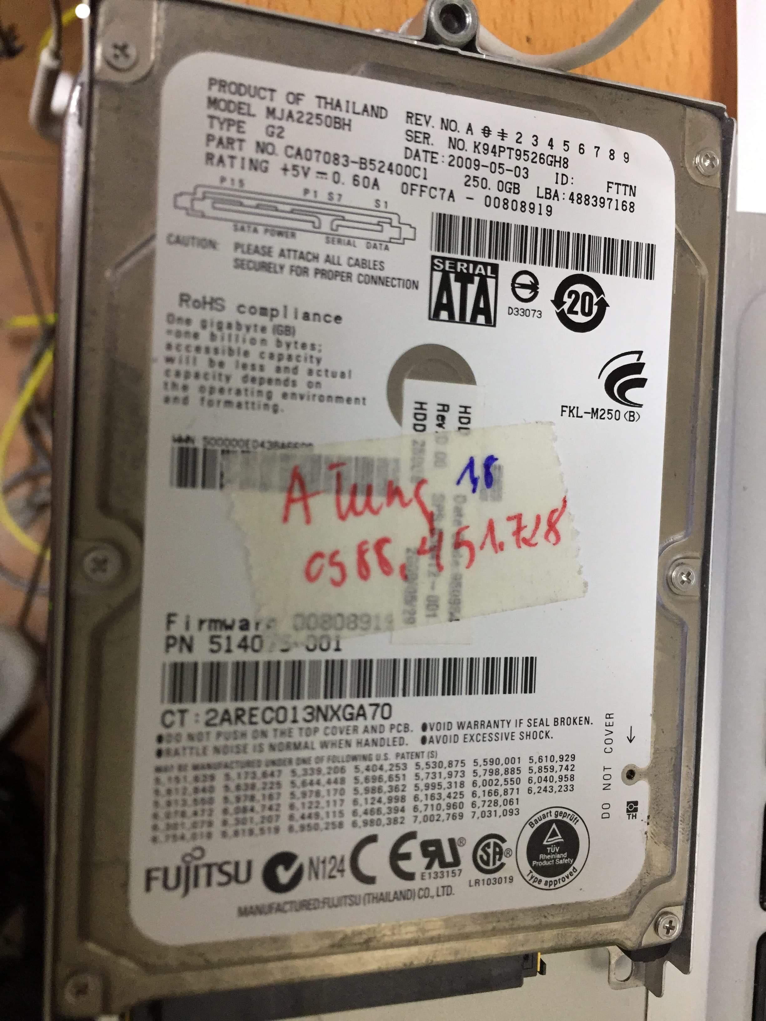 Lấy dữ liệu ổ cứng Fujitsu 250GB lỗi đầu đọc  24/04 - cuumaytinh