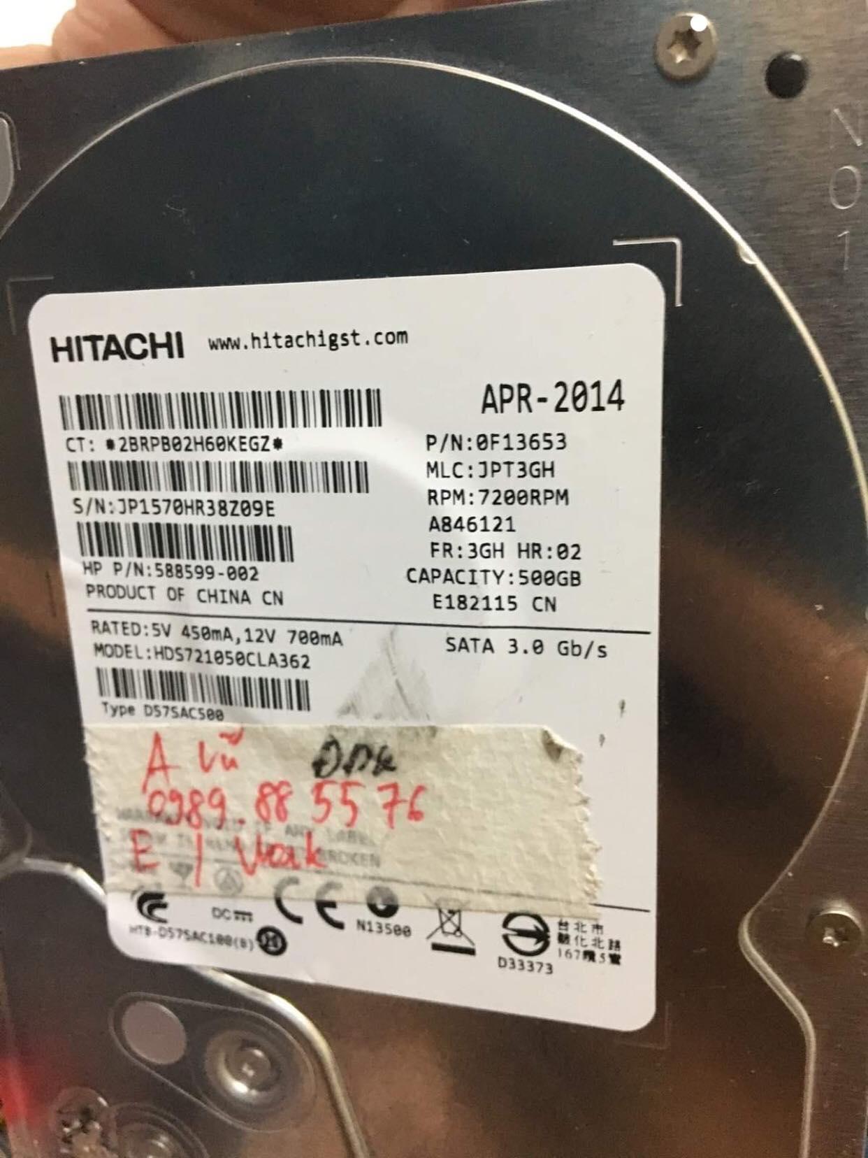 Lấy dữ liệu ổ cứng Hitachi 500GB đầu đọc kém 10/04/2019 - cuumaytinh