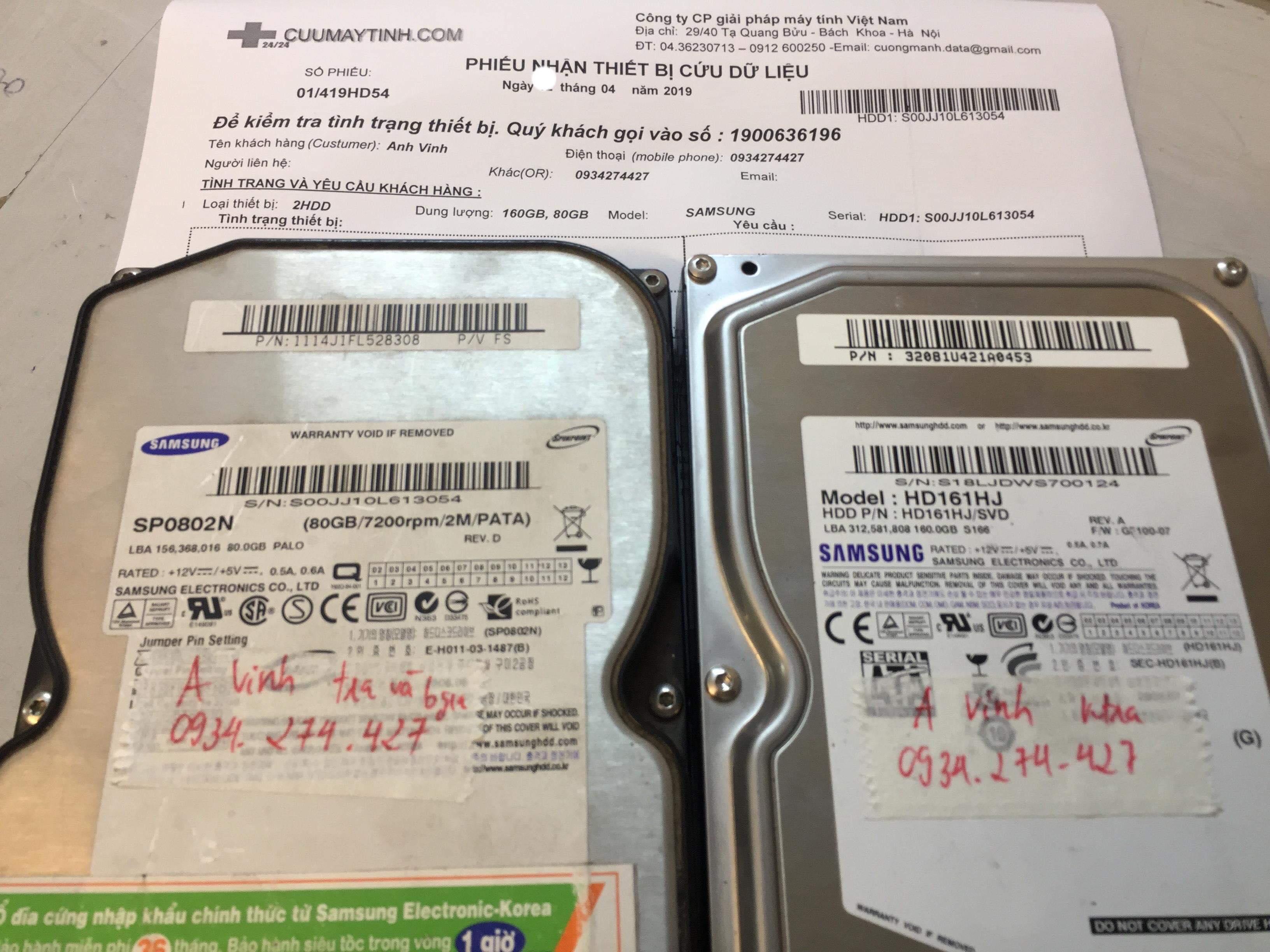 Lấy dữ liệu ổ cứng Samsung 160GB không nhận 19/04/2019 - cuumaytinh