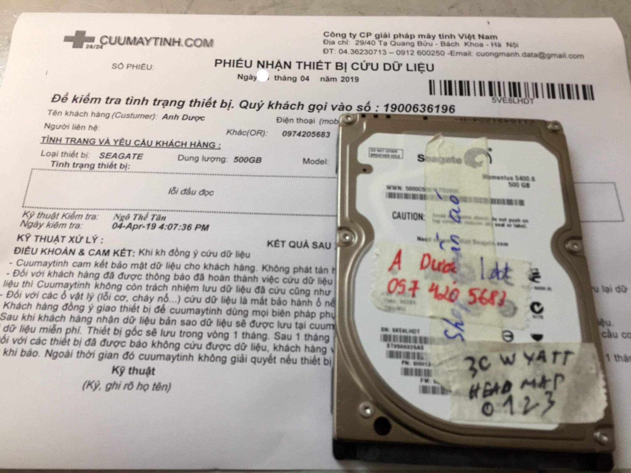 Lấy dữ liệu ổ cứng Seagate 500GB lỗi đầu đọc 09/04/2019 - cuumaytinh