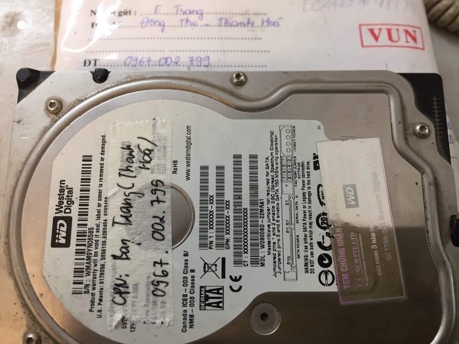 Lấy dữ liệu ổ cứng Western 80GB lỗi cơ tại Thanh Hóa 28/03/2019 - cuumaytinh