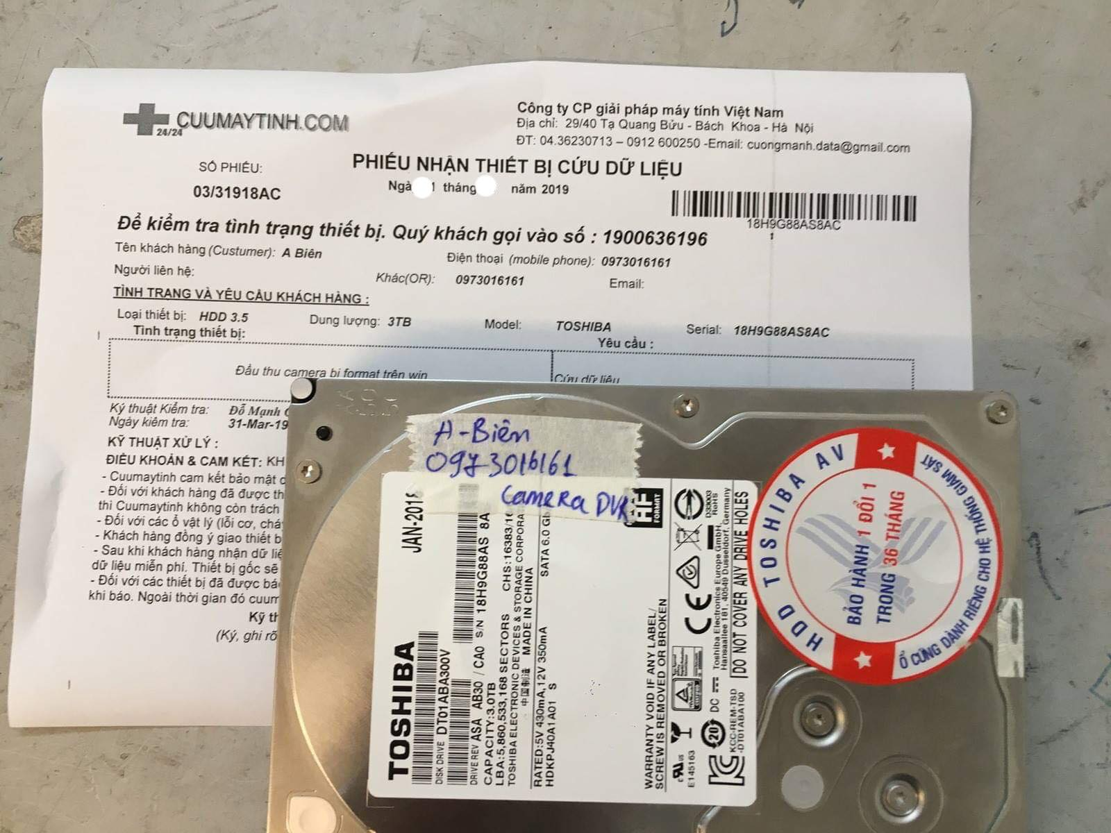 Phục hồi dữ liệu ổ cứng Toshiba 3TB format nhầm 12/04/2019 - cuumaytinh