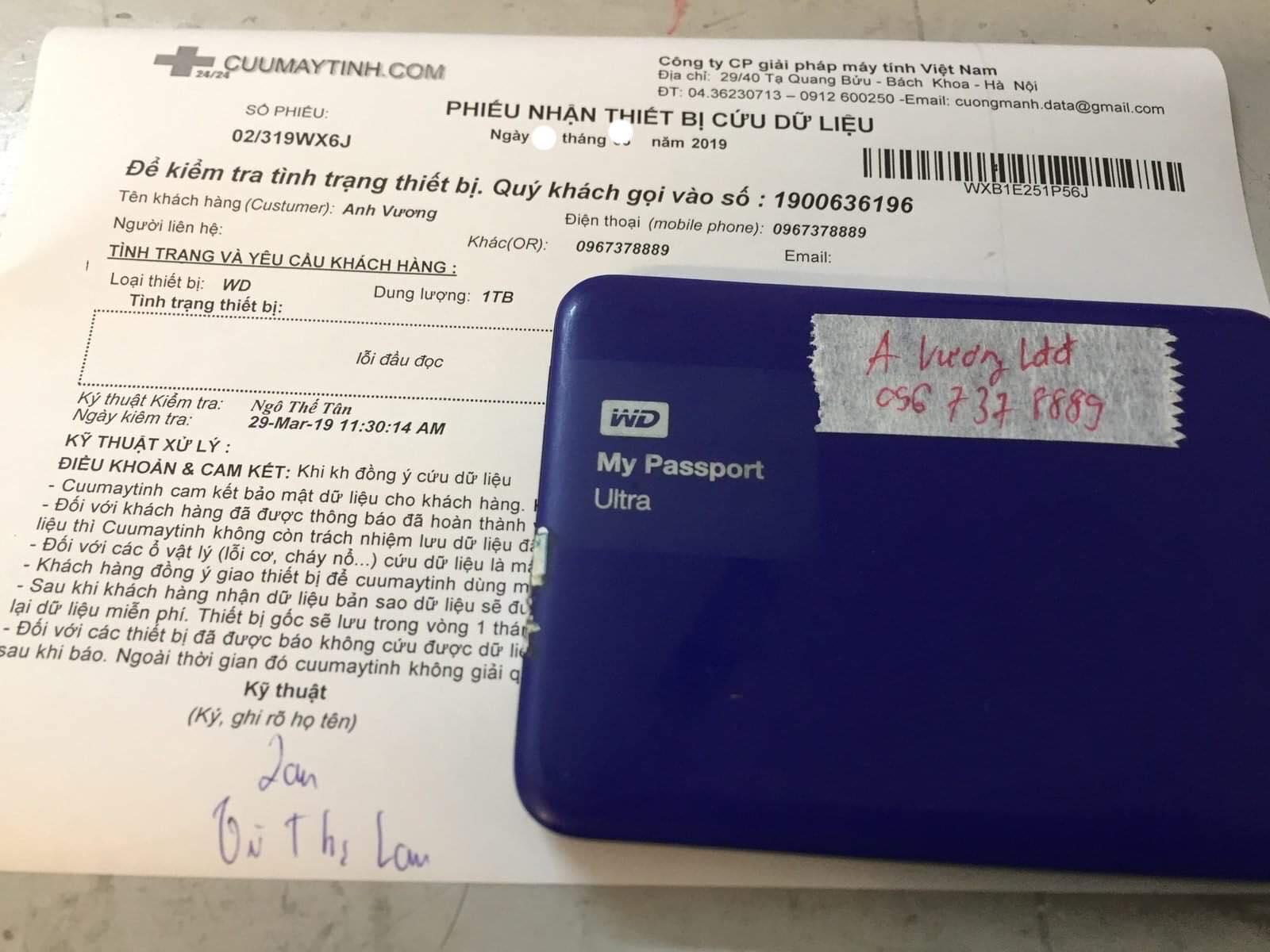 Phục hồi dữ liệu ổ cứng Western 1TB lỗi đầu đọc 01/04/2019 - cuumaytinh