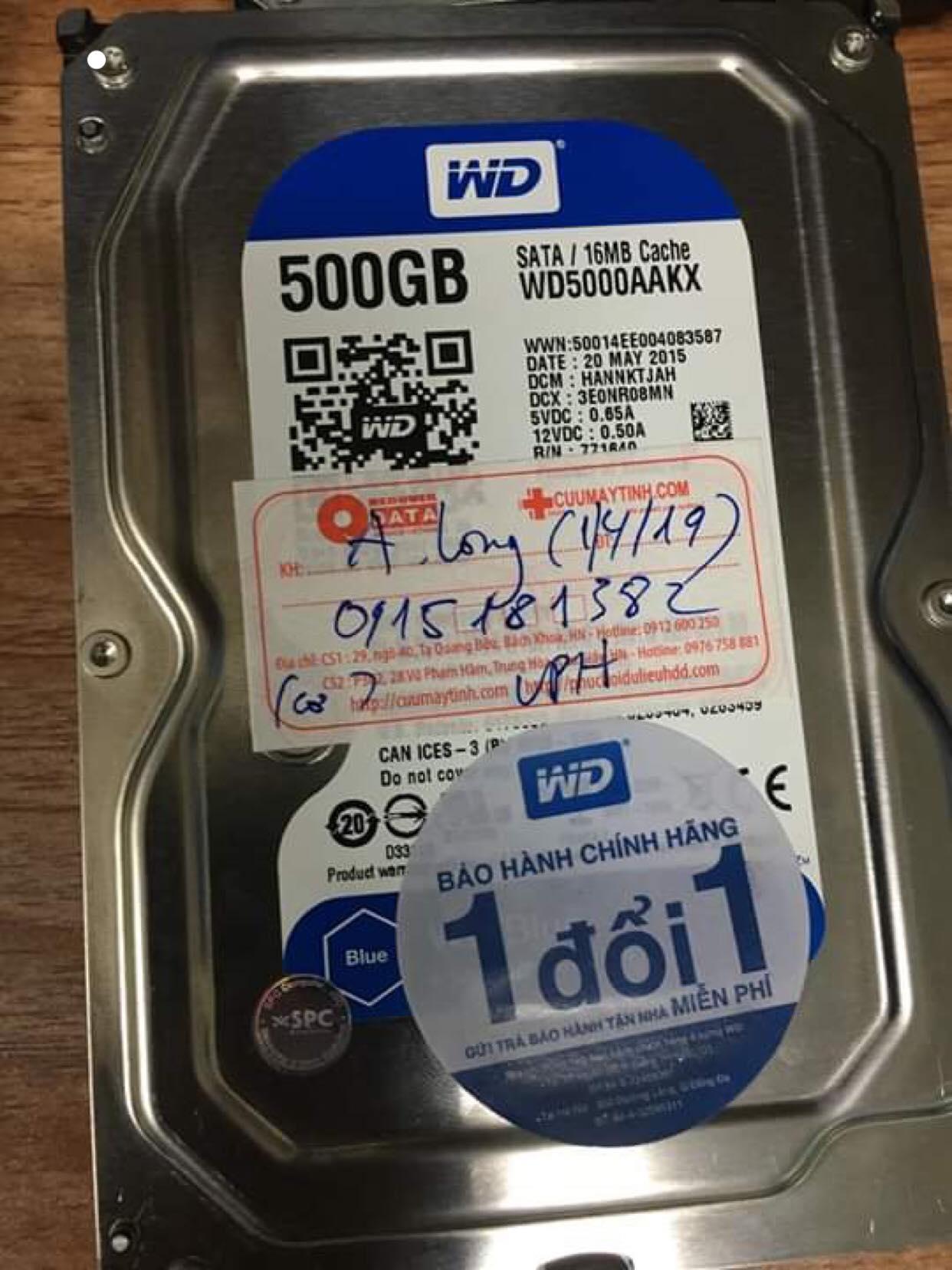 Phục hồi dữ liệu ổ cứng Western 500GB bó cơ 05/04/2019 - cuumaytinh