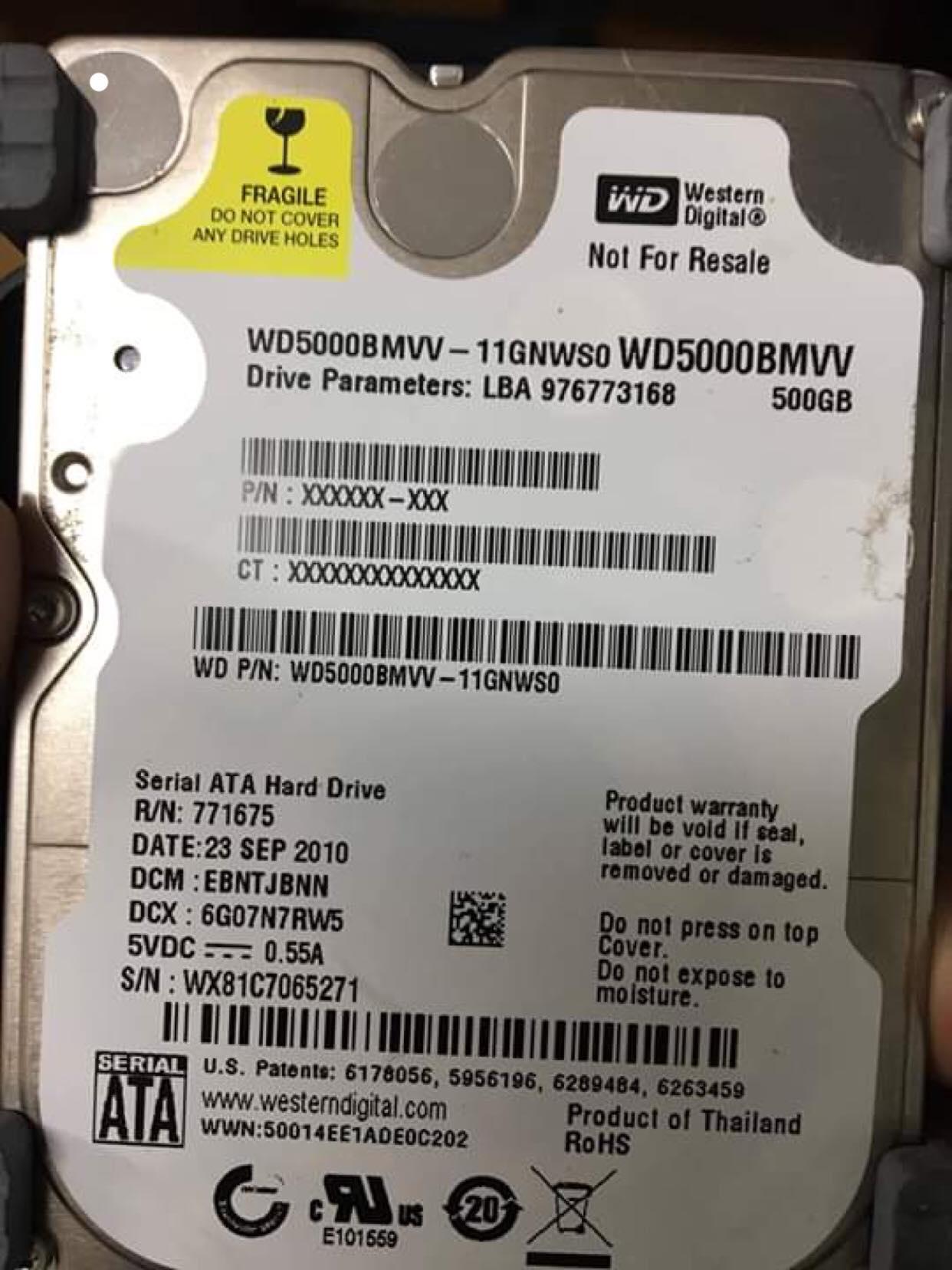 Phục hồi dữ liệu ổ cứng Western 500GB lỗi đầu đọc 13/04/2019 - cuumaytinh