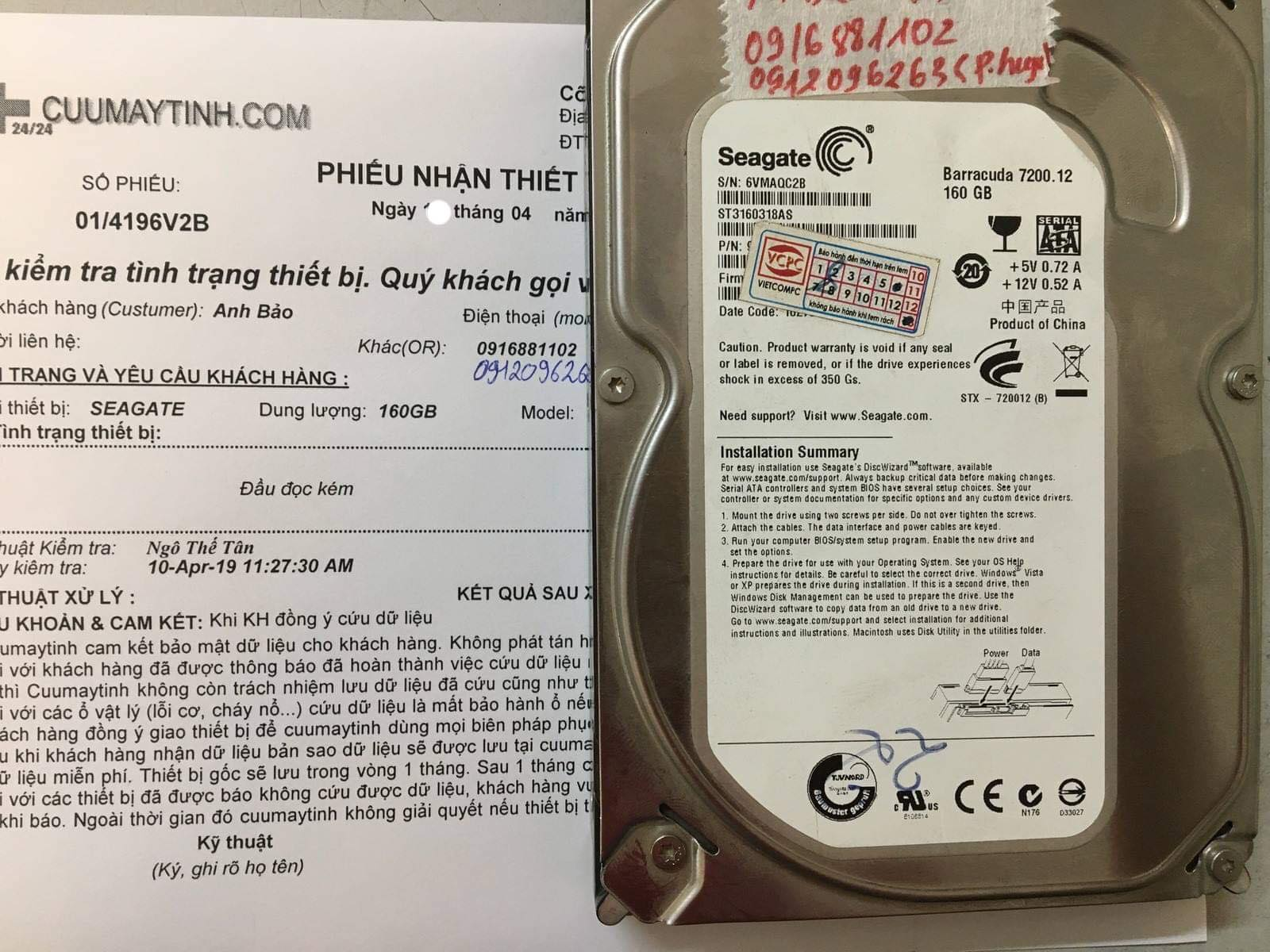 Cứu dữ liệu ổ cứng Seagate 160GB đầu đọc kém 11/04/2019 - cuumaytinh