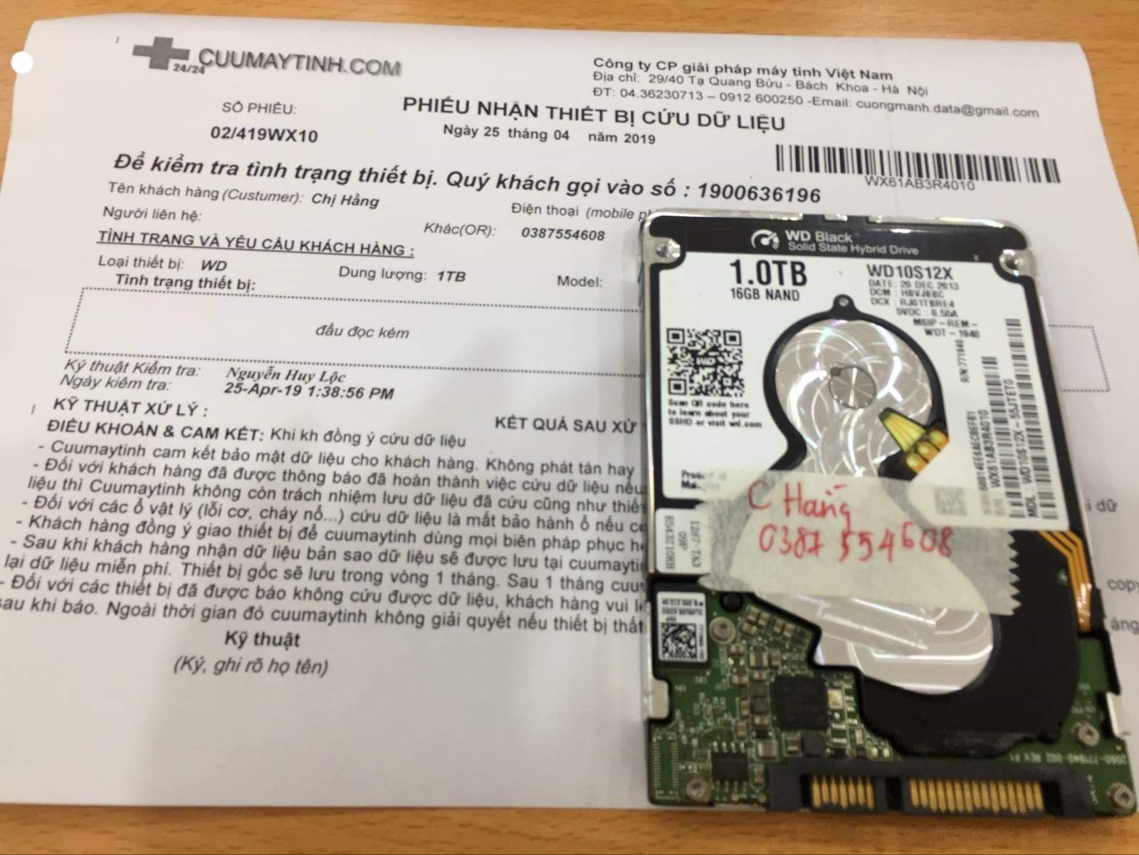 Cứu dữ liệu ổ cứng Western 1TB đầu đọc kém 25/04/2019 - cuumaytinh