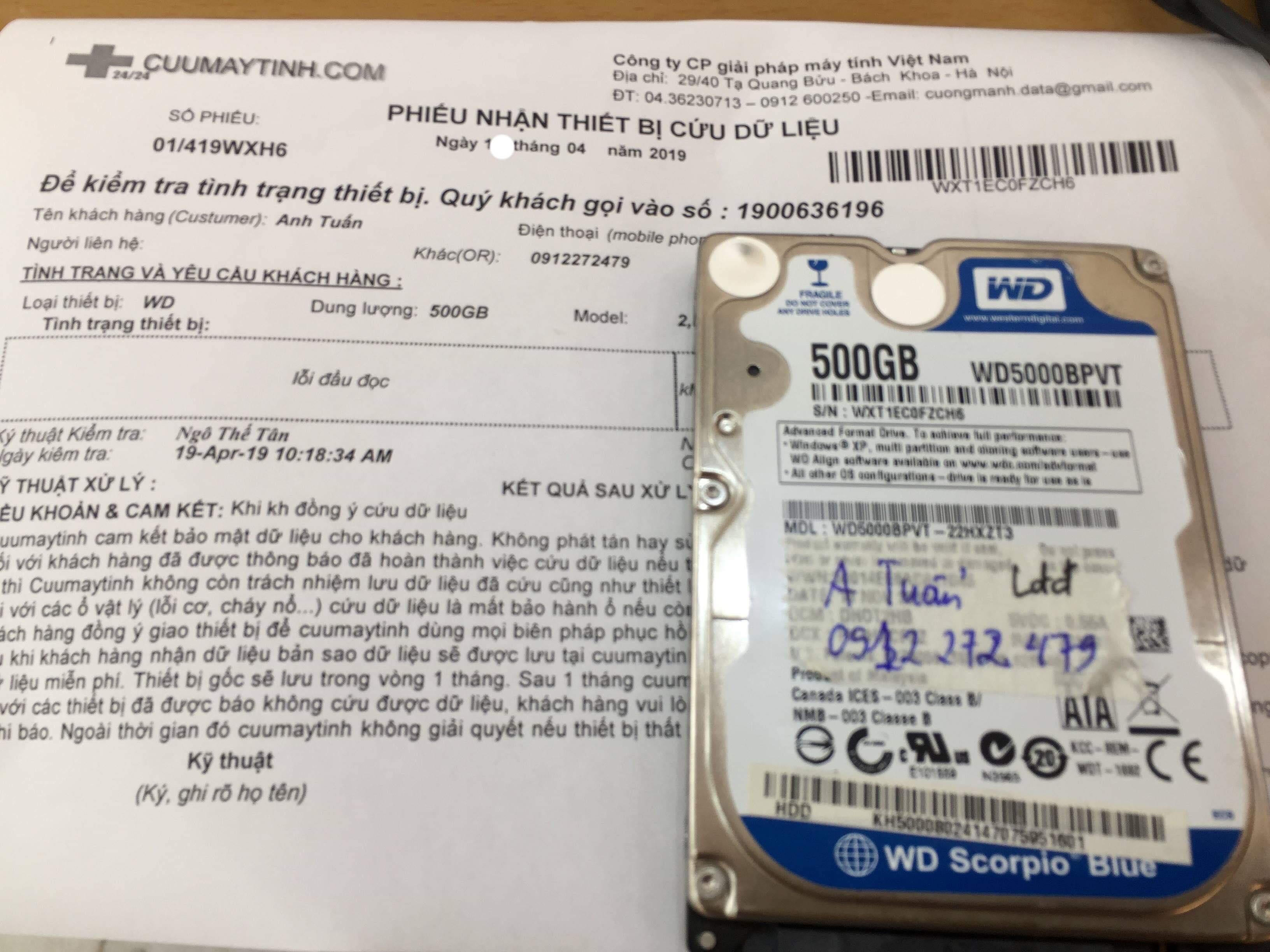 Lấy dữ liệu ổ cứng Western 500GB lỗi đầu đọc 22/04/2019 - cuumaytinh