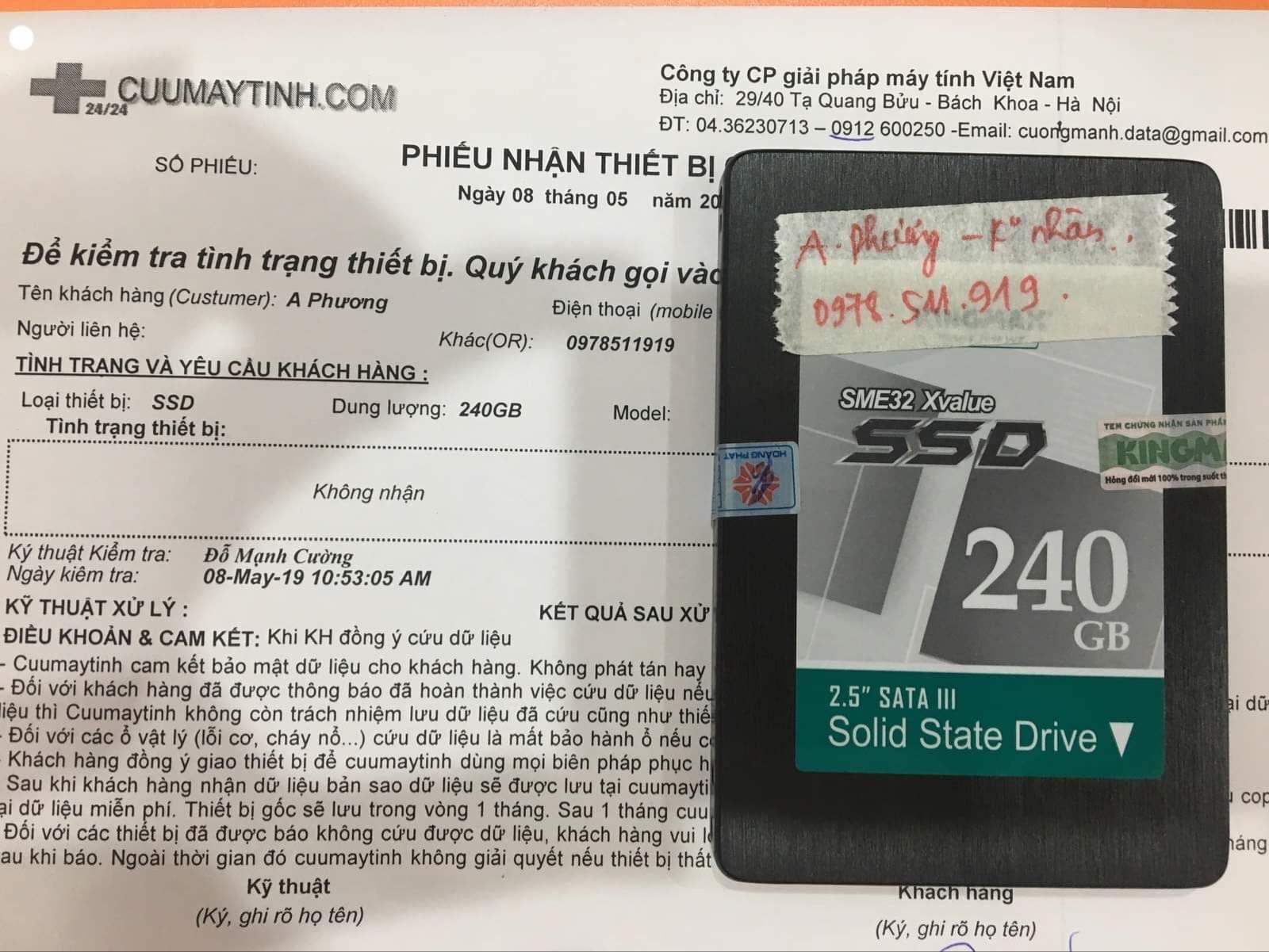 Cứu dữ liệu ổ cứng SSD 240GB không nhận 08/05/2019 - cuumaytinh