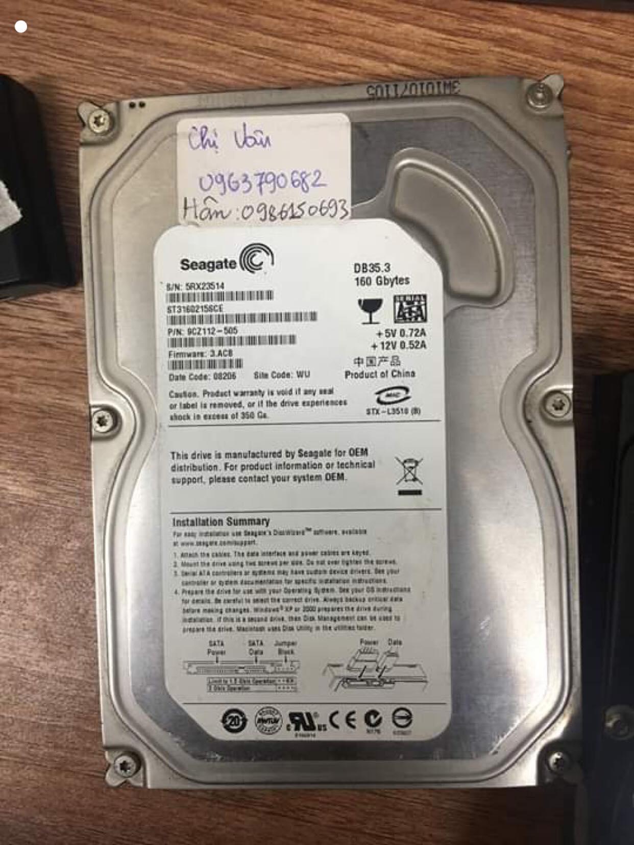 Cứu dữ liệu ổ cứng Seagate 160GB lỗi cơ 03/05/2019 - cuumaytinh