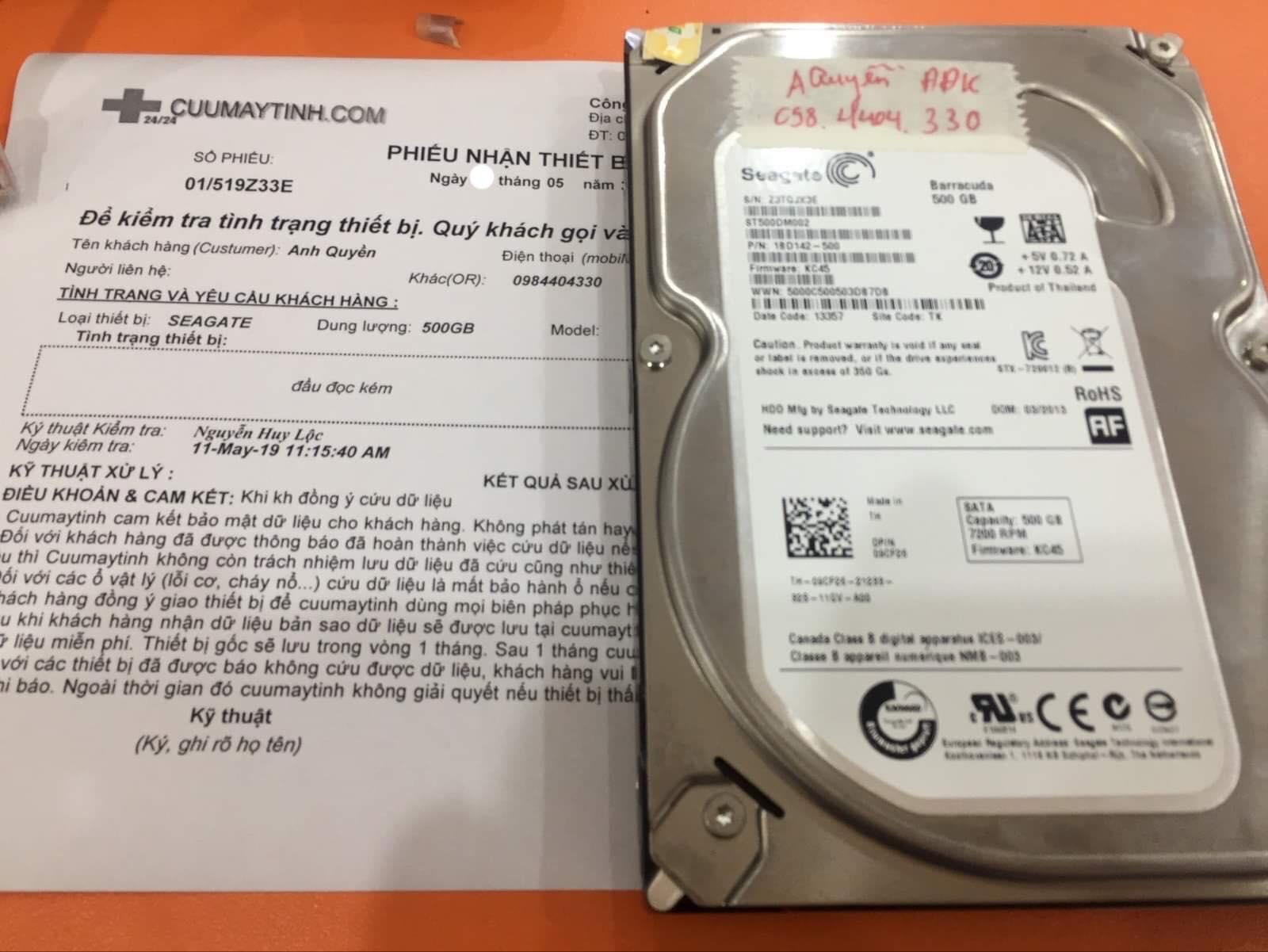 Cứu dữ liệu ổ cứng Seagate 500GB đầu đọc kém 13/05/2019 - cuumaytinh