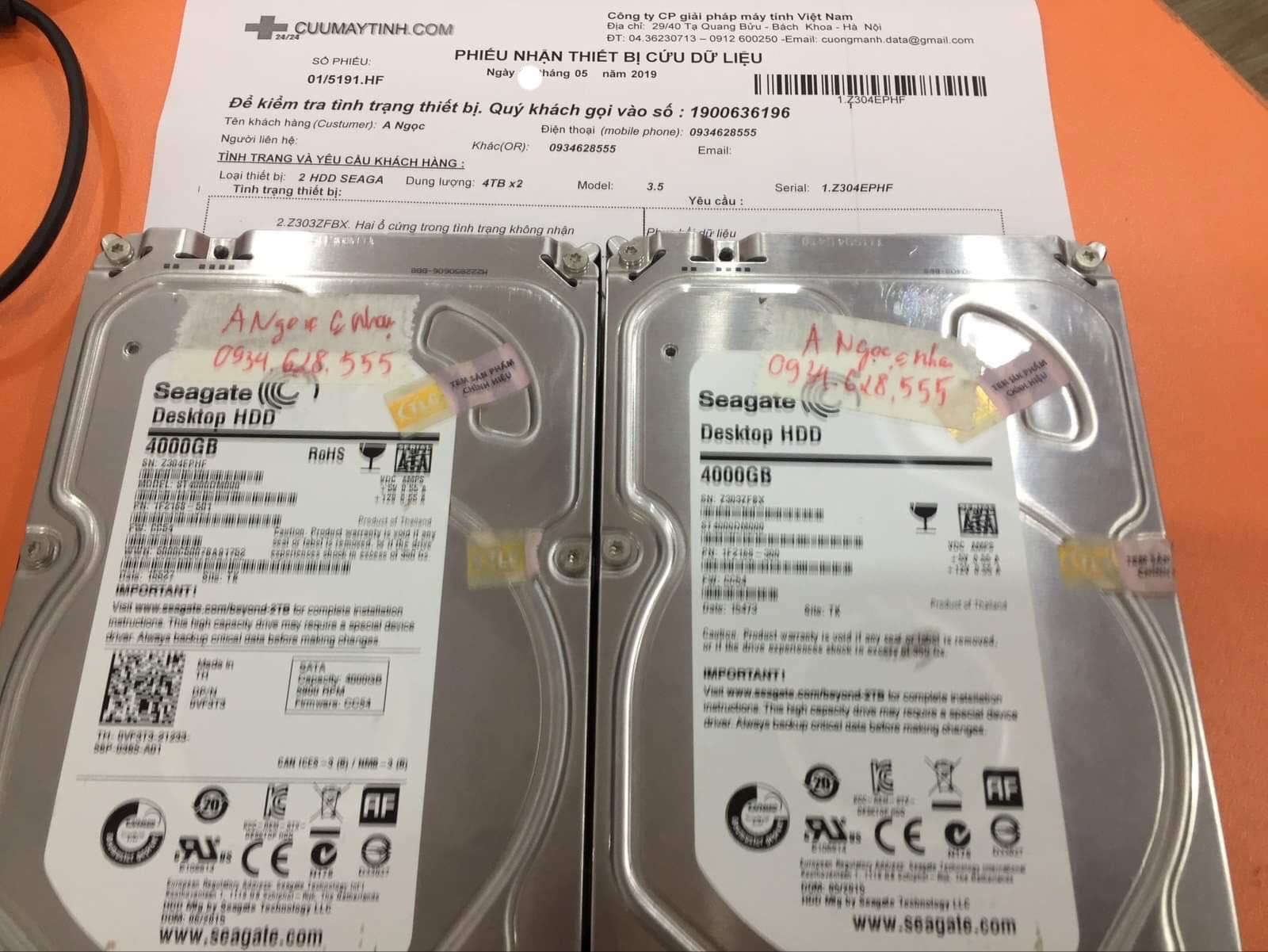Cứu dữ liệu ổ cứng Seagate 4TB không nhận 20/05/2019 - cuumaytinh