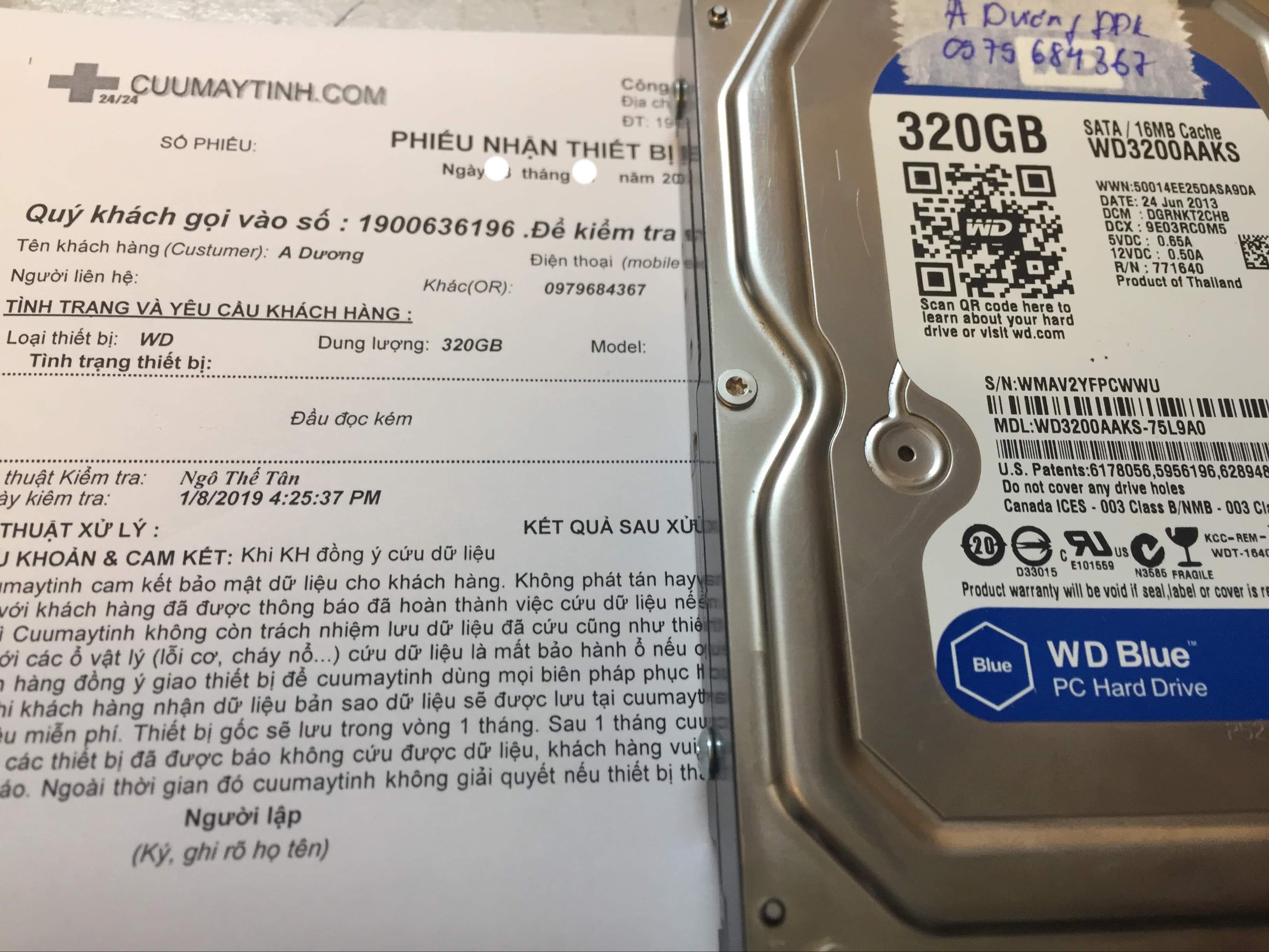 Cứu dữ liệu ổ cứng Western 320GB đầu đọc kém 04/05/2019 - cuumaytinh