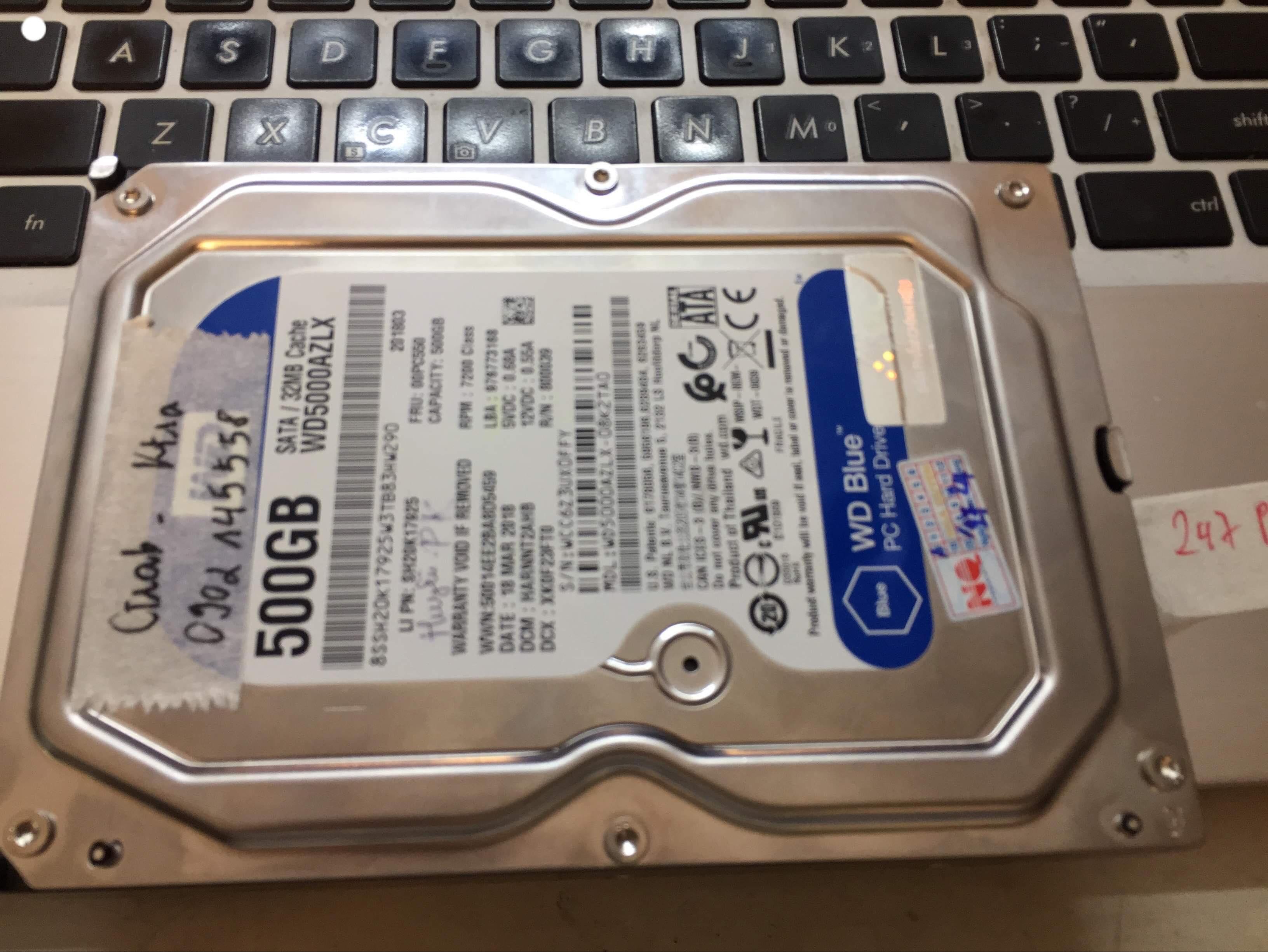 Cứu dữ liệu ổ cứng Western 500GB lỗi đầu đọc 26/04/2019 - cuumaytinh
