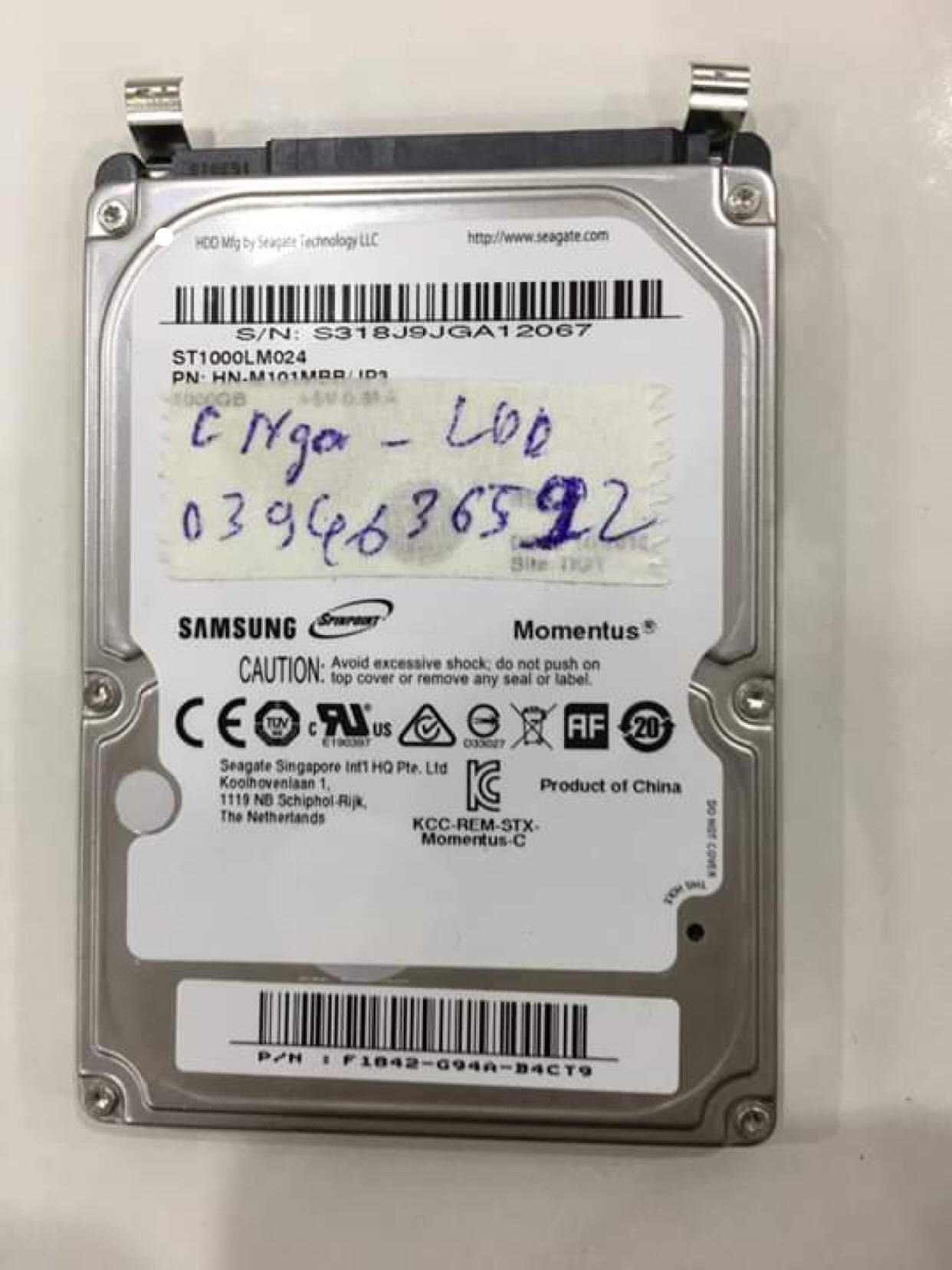 Khôi phục dữ liệu ổ cứng Samsung 1TB lỗi đầu đọc 04/05/2019 - cuumaytinh