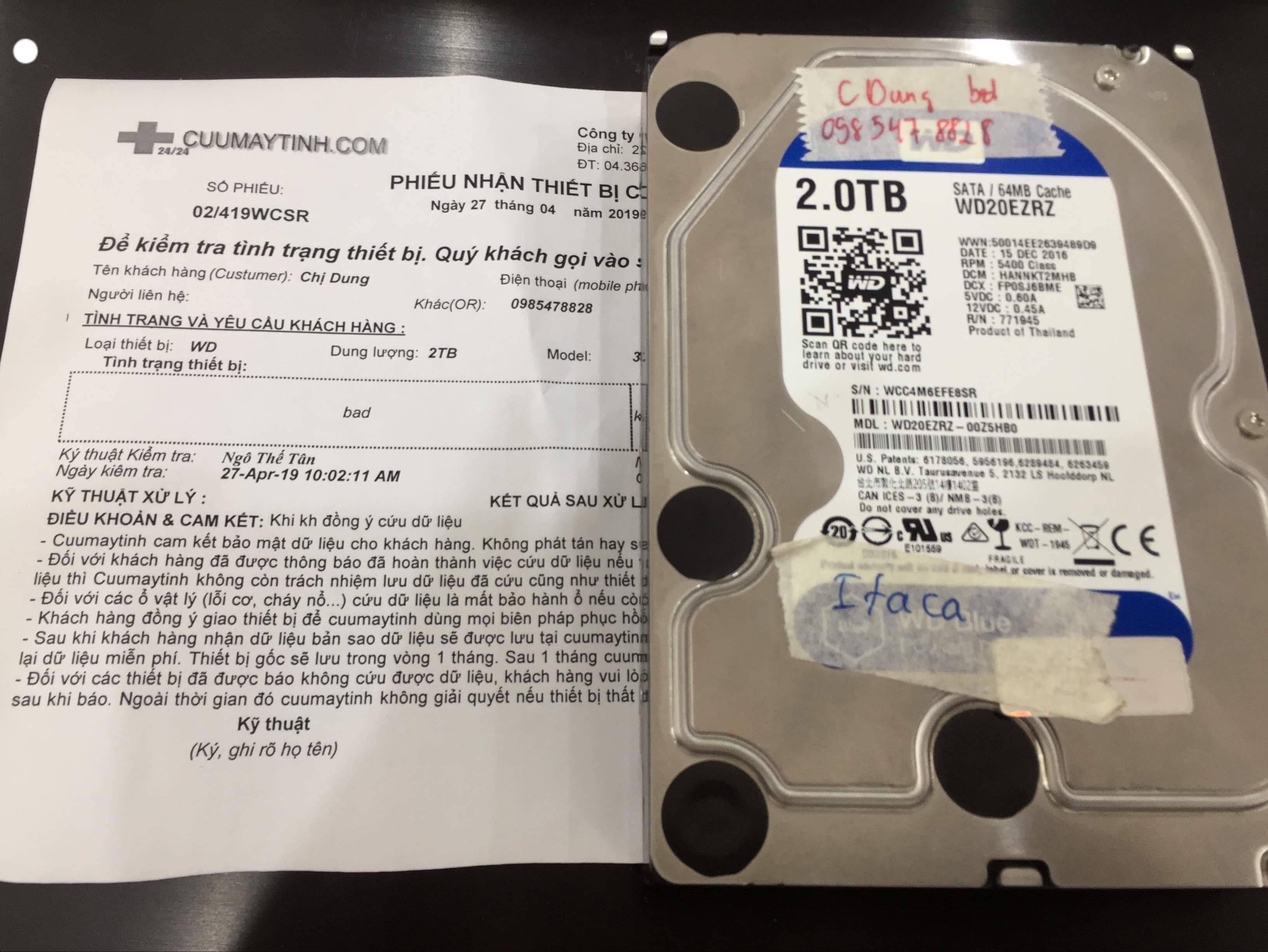 Khôi phục dữ liệu ổ cứng Western 2TB bad 27/04/2019 - cuumaytinh