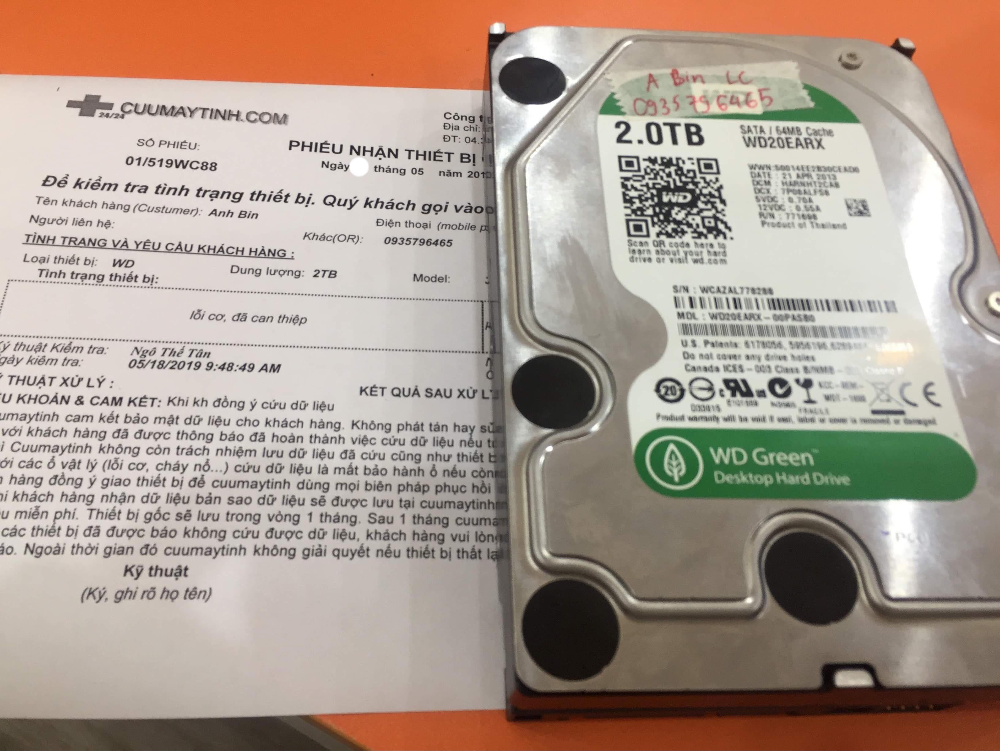 Khôi phục dữ liệu ổ cứng Western 2TB lỗi cơ tại Huế 23/05/2019 - cuumaytinh