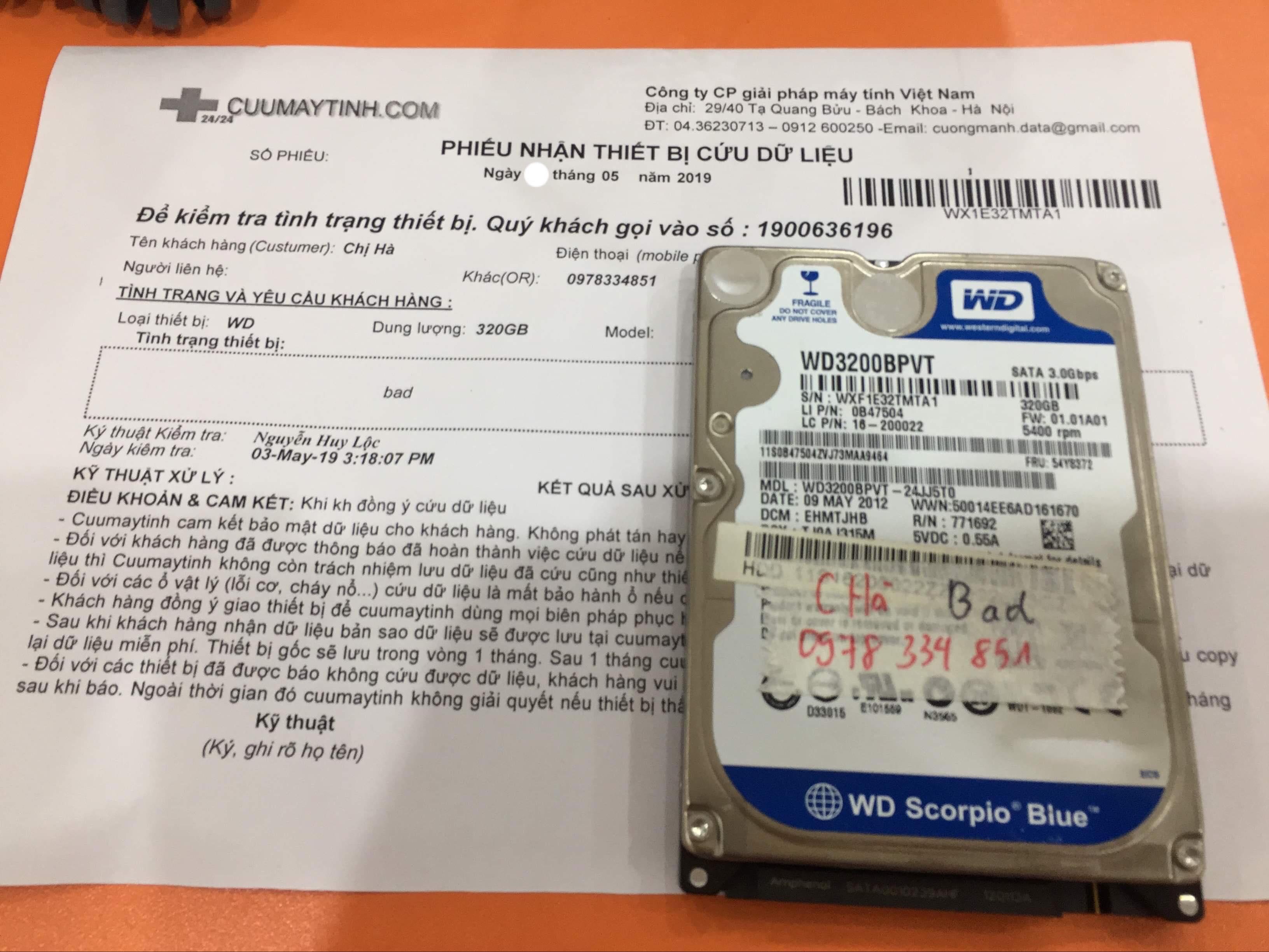 Khôi phục dữ liệu ổ cứng Western 320GB bad 07/05/2019 - cuumaytinh