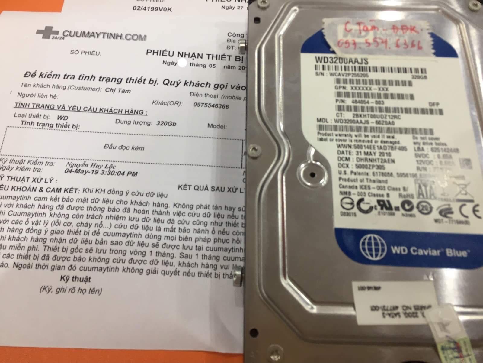Khôi phục dữ liệu ổ cứng Western 320GB đầu đọc kém 06/05/2019 - cuumaytinh