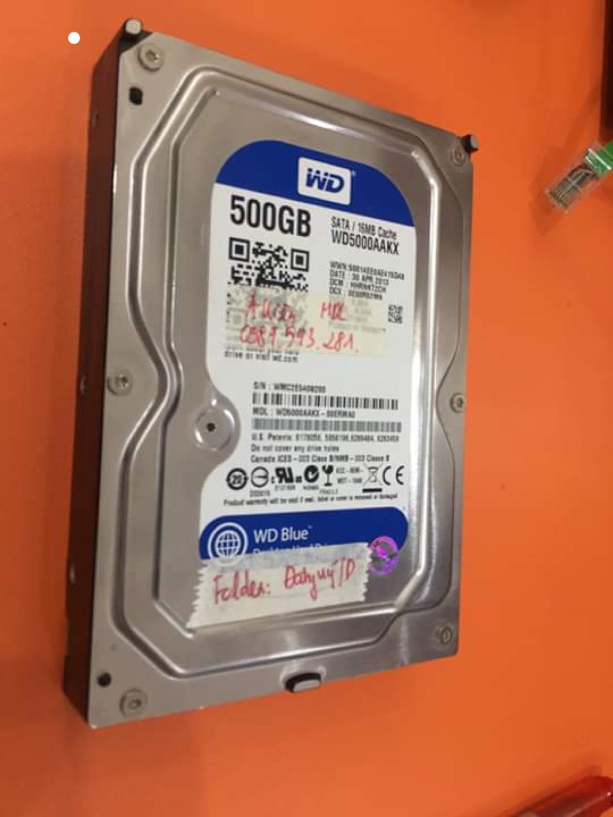 Khôi phục dữ liệu ổ cứng Western 500GB xóa nhầm 21/05/2019 - cuumaytinh