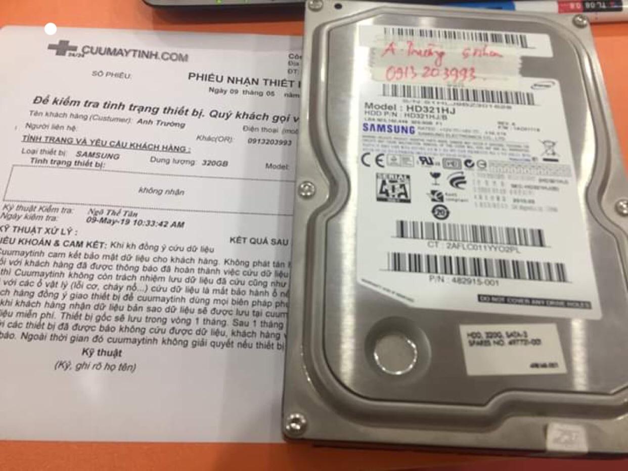 Khôi phục dữ liệu ổ cứng Samsung 320GB không nhận 09/05/2019 - cuumaytinh